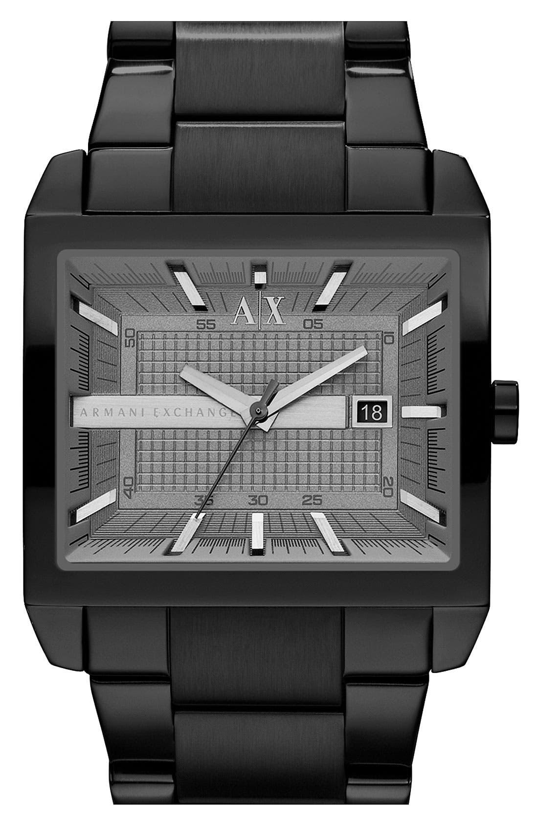 Main Image - AX Armani Exchange Rectangular Bracelet Watch