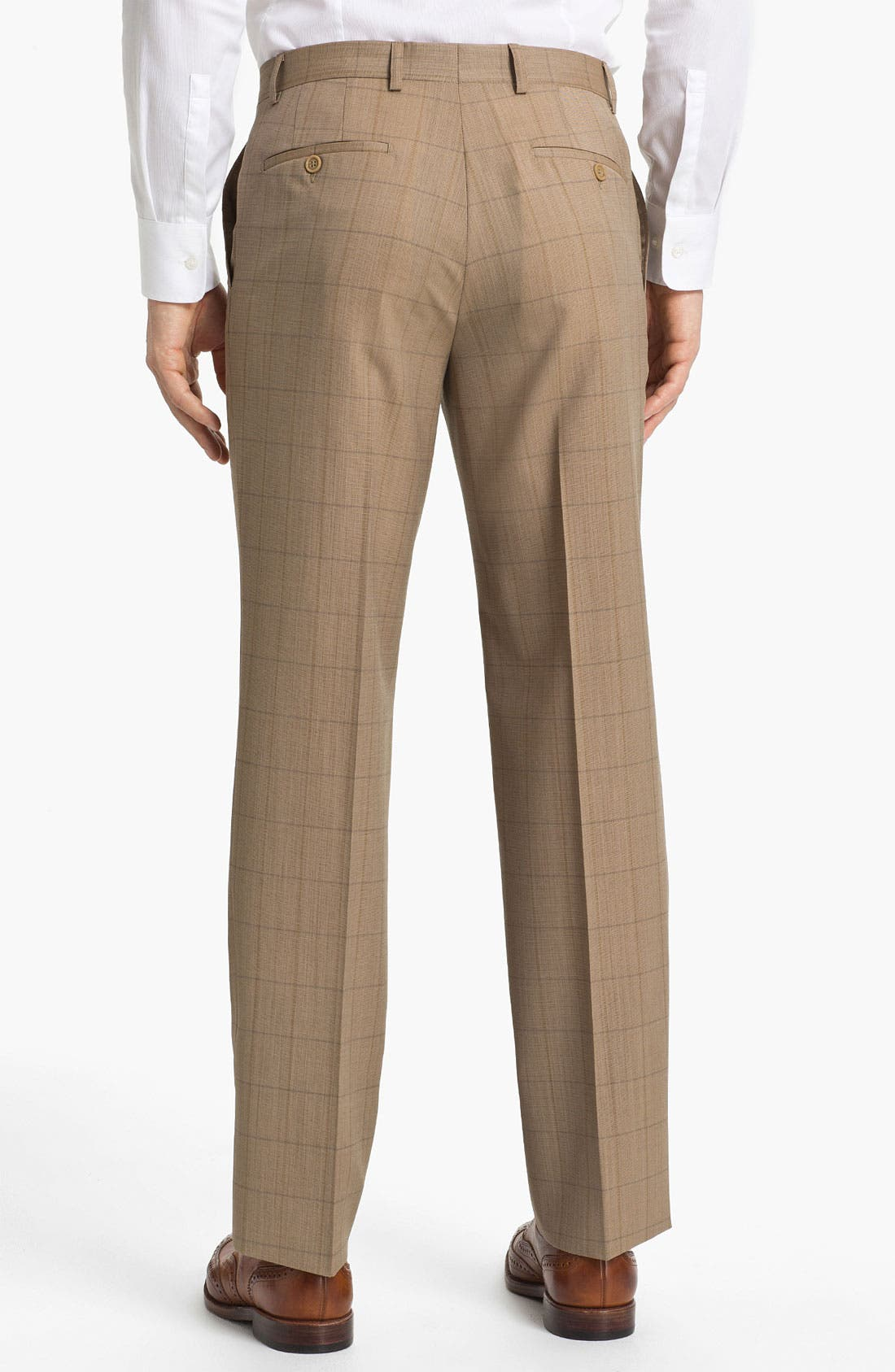 Alternate Image 2  - Linea Naturale 'Sandbox Plaid' Flat Front Wool Trousers