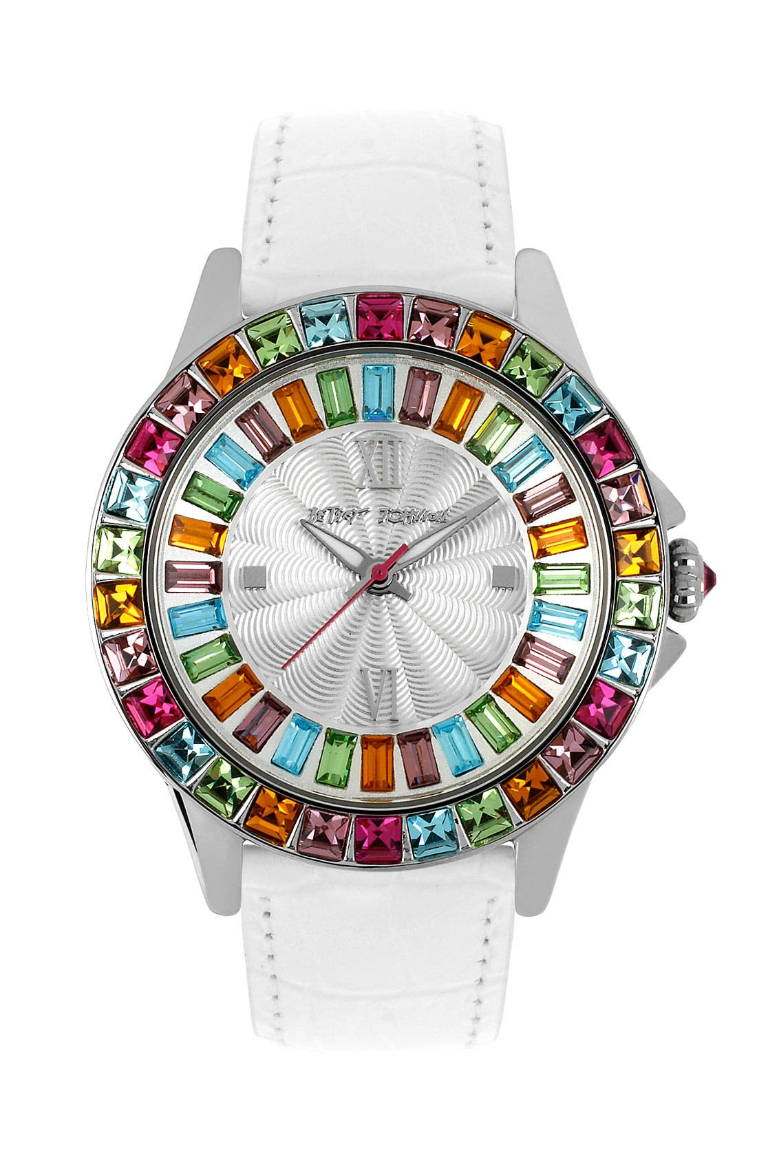 Main Image - Betsey Johnson Multicolored Crystal Bezel Watch, 40mm