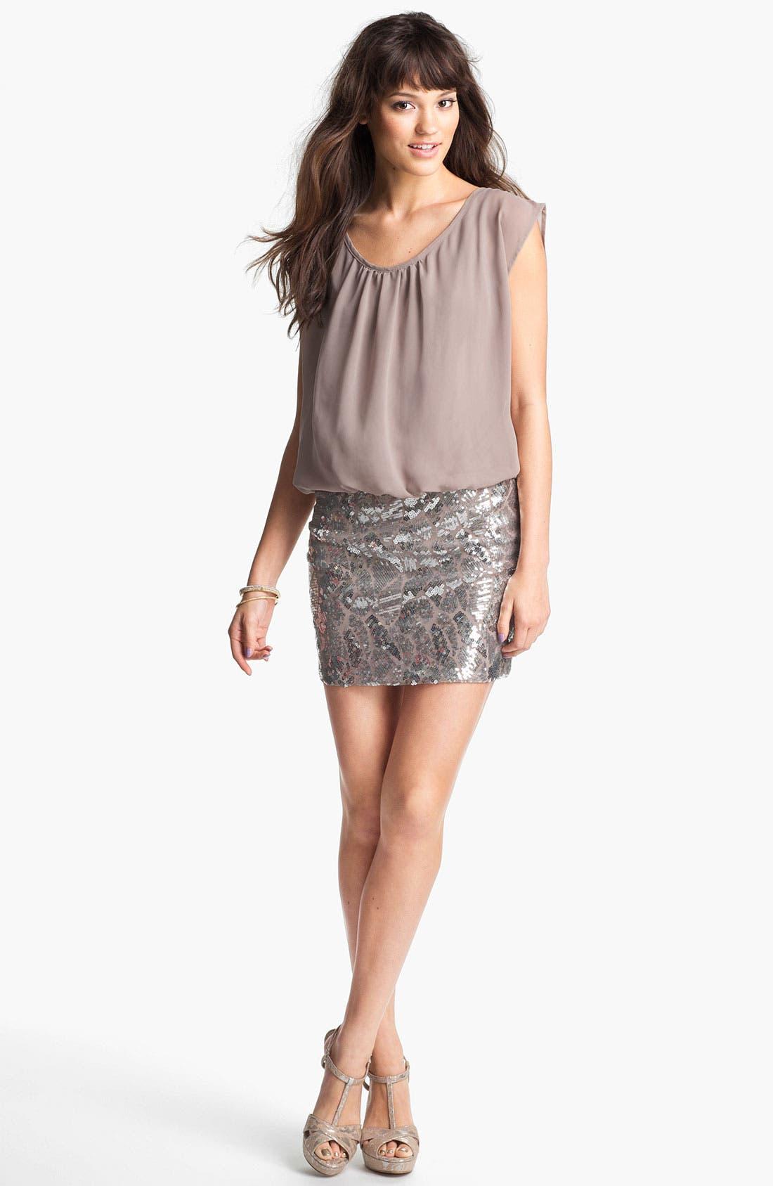 Alternate Image 1 Selected - As U Wish Sequin Skirt Blouson Dress (Juniors)