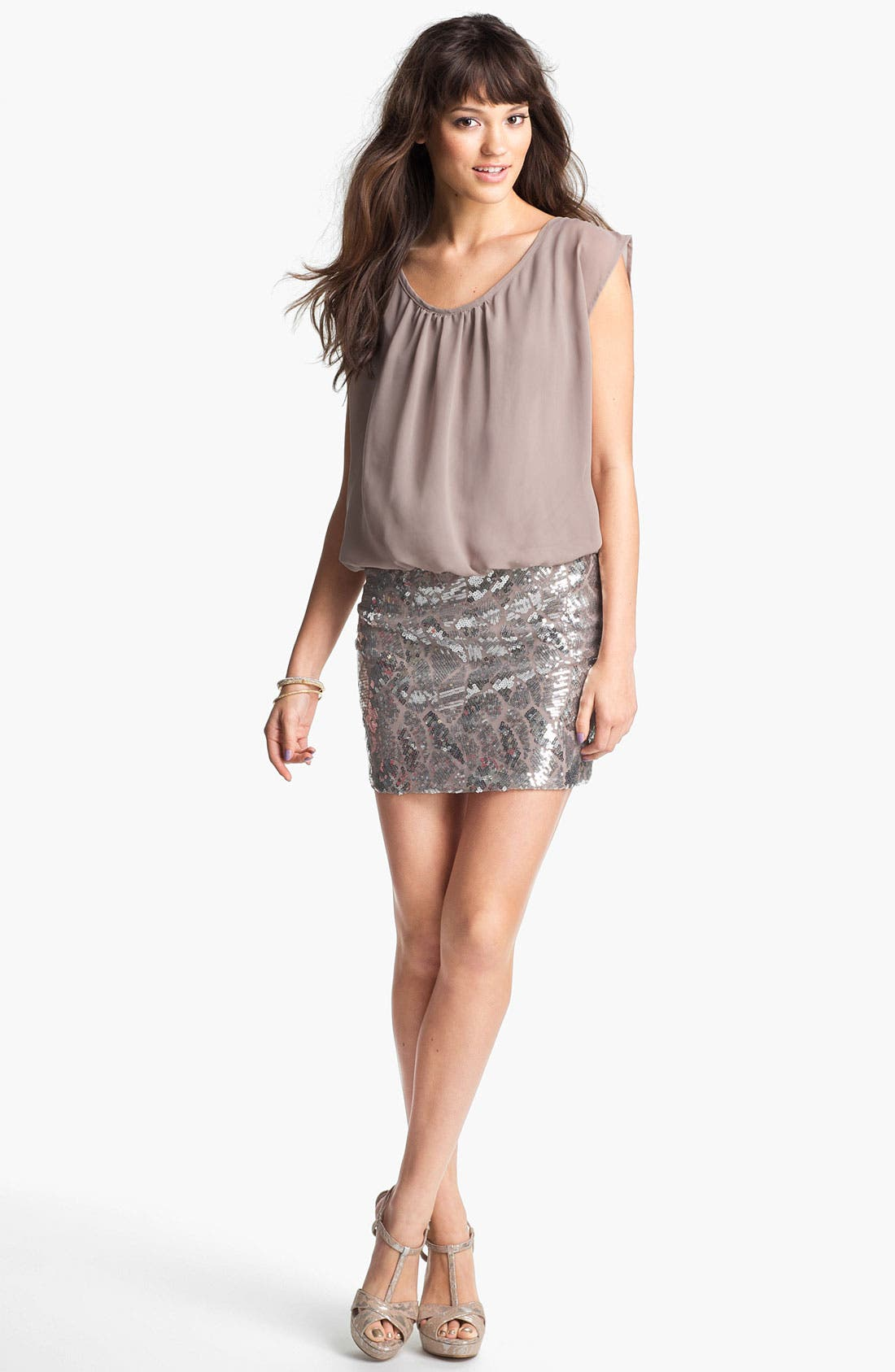 Main Image - As U Wish Sequin Skirt Blouson Dress (Juniors)