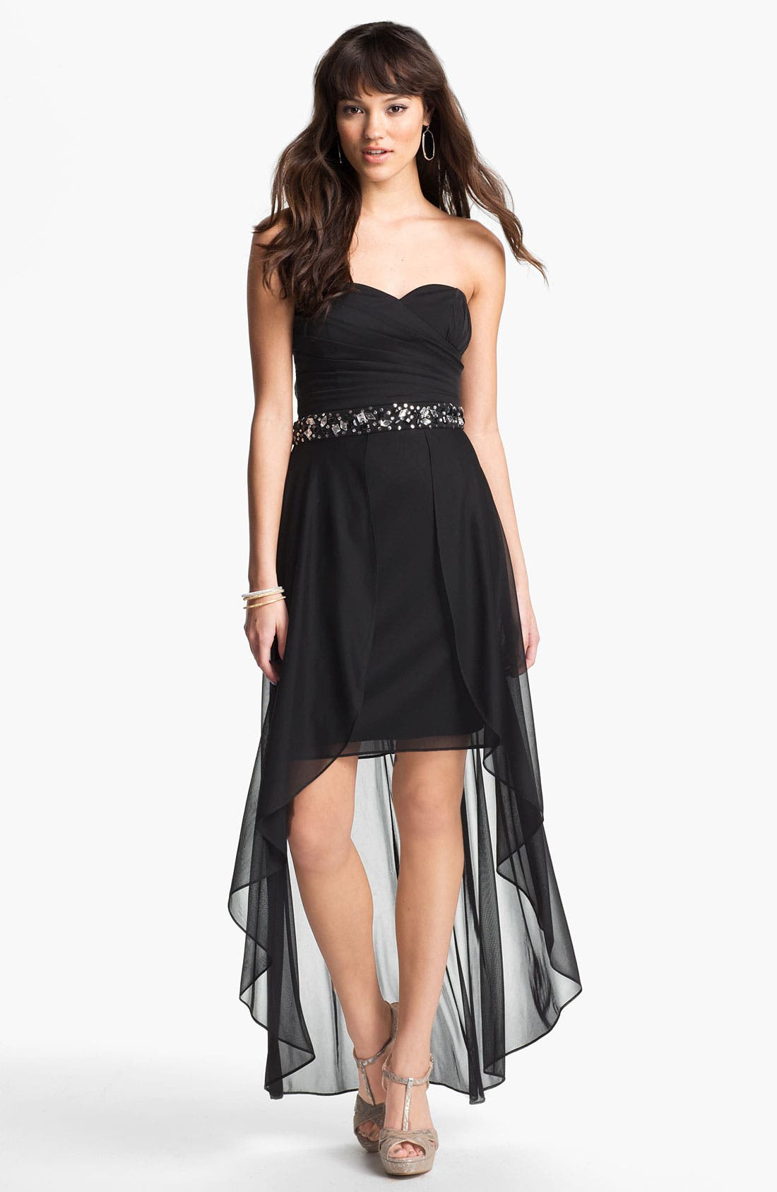 Main Image - Hailey by Adrianna Papell Embellished High/Low Mesh Gown (Online Only)