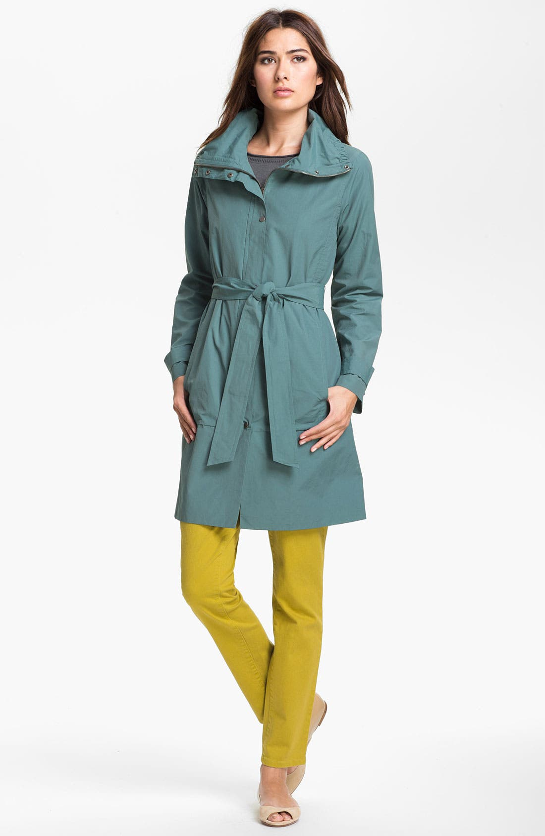Main Image - Eileen Fisher Funnel Neck Coat (Online Only)