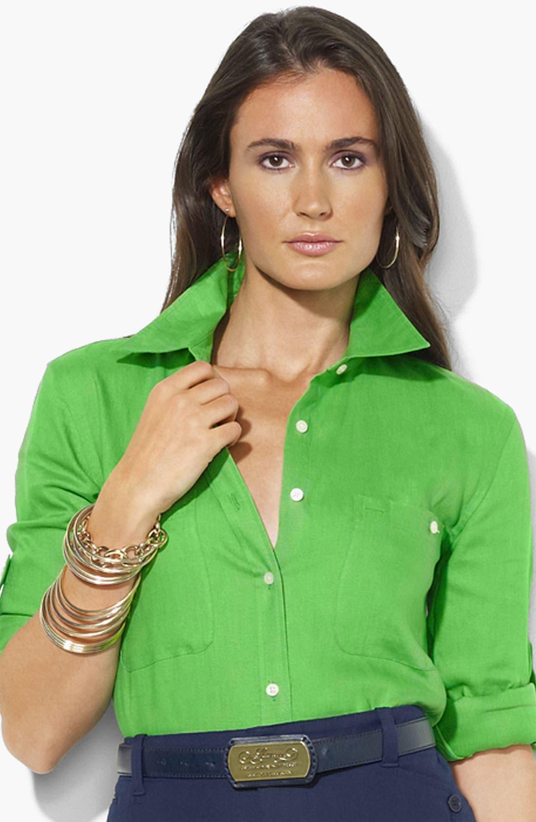 Alternate Image 1 Selected - Lauren Ralph Lauren Linen Work Shirt (Petite) (Online Only)