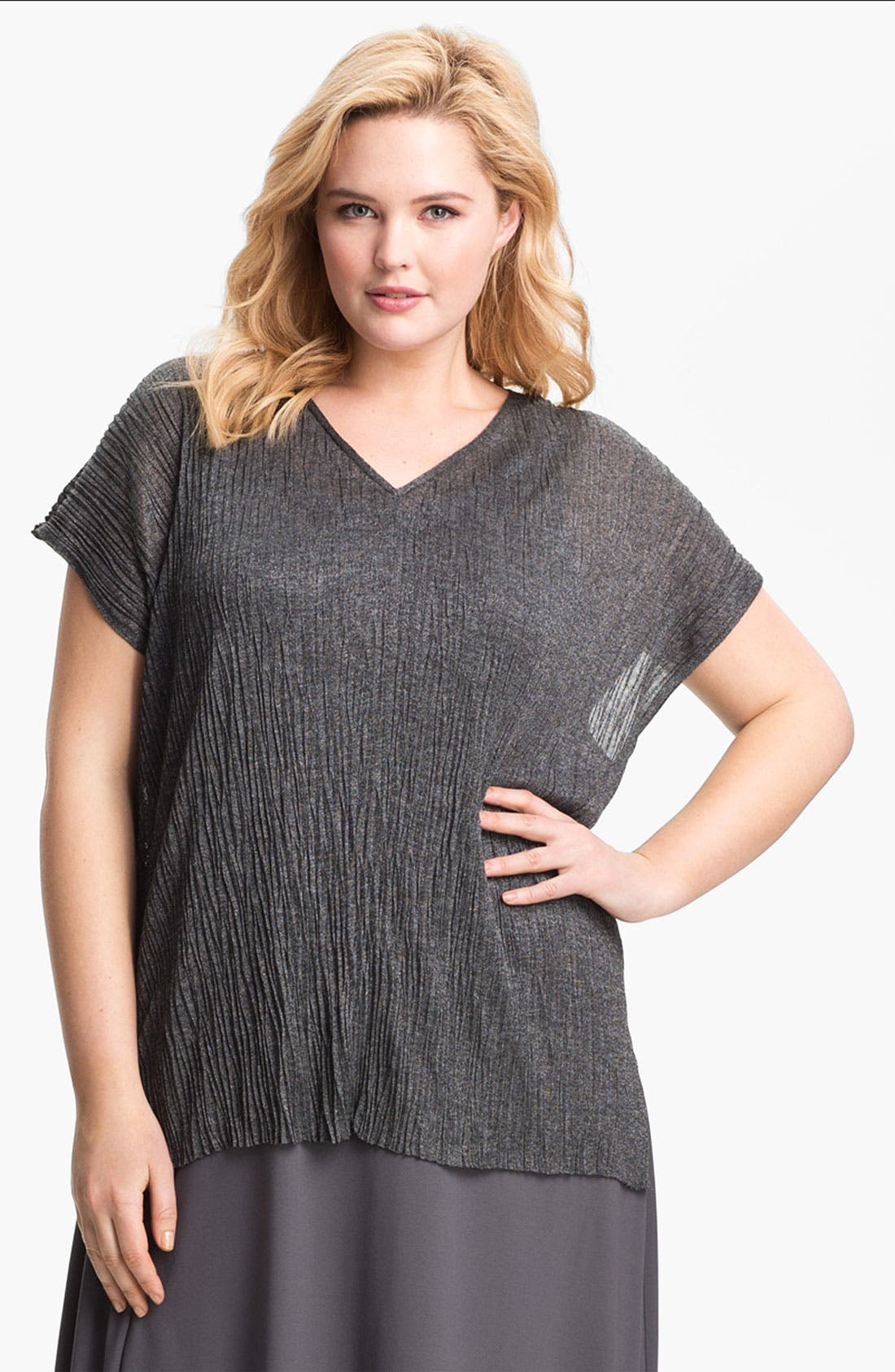 Alternate Image 1 Selected - Eileen Fisher Crinkled Tunic (Plus Size)