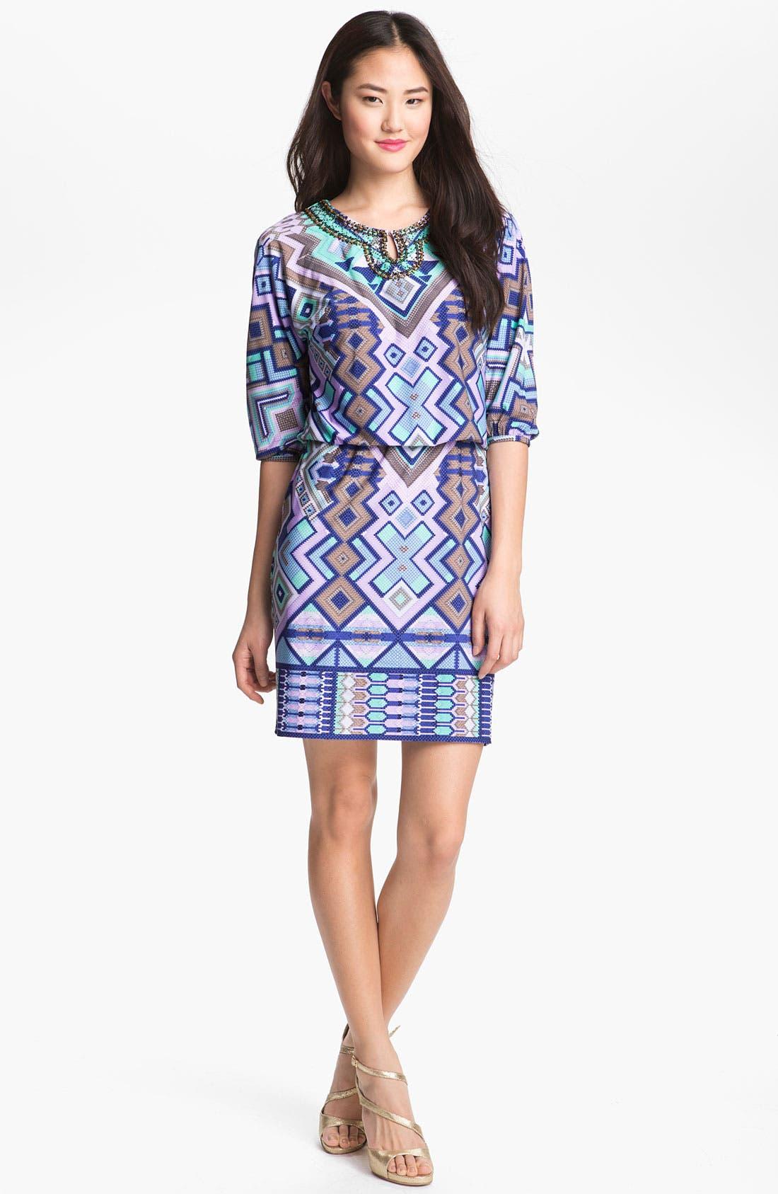 Main Image - Donna Morgan Embellished Print Blouson Dress