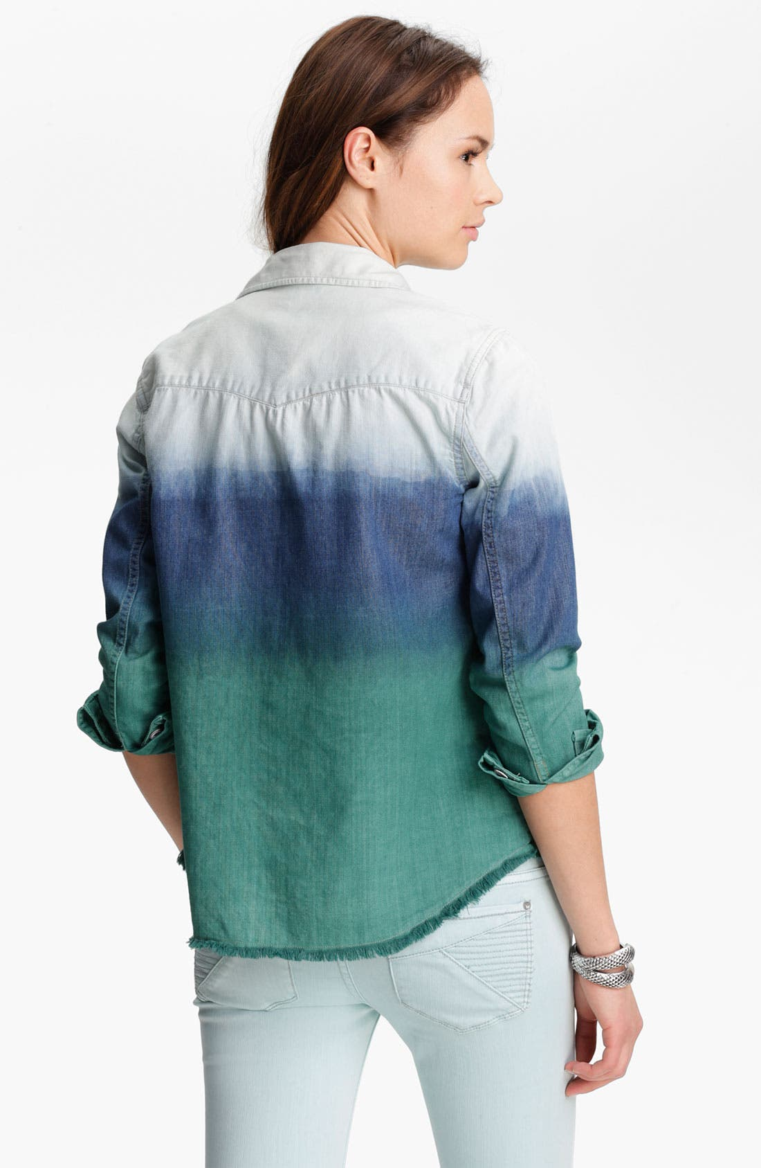 Alternate Image 2  - Free People 'Before Sunrise' Ombré Cutoff Denim Shirt