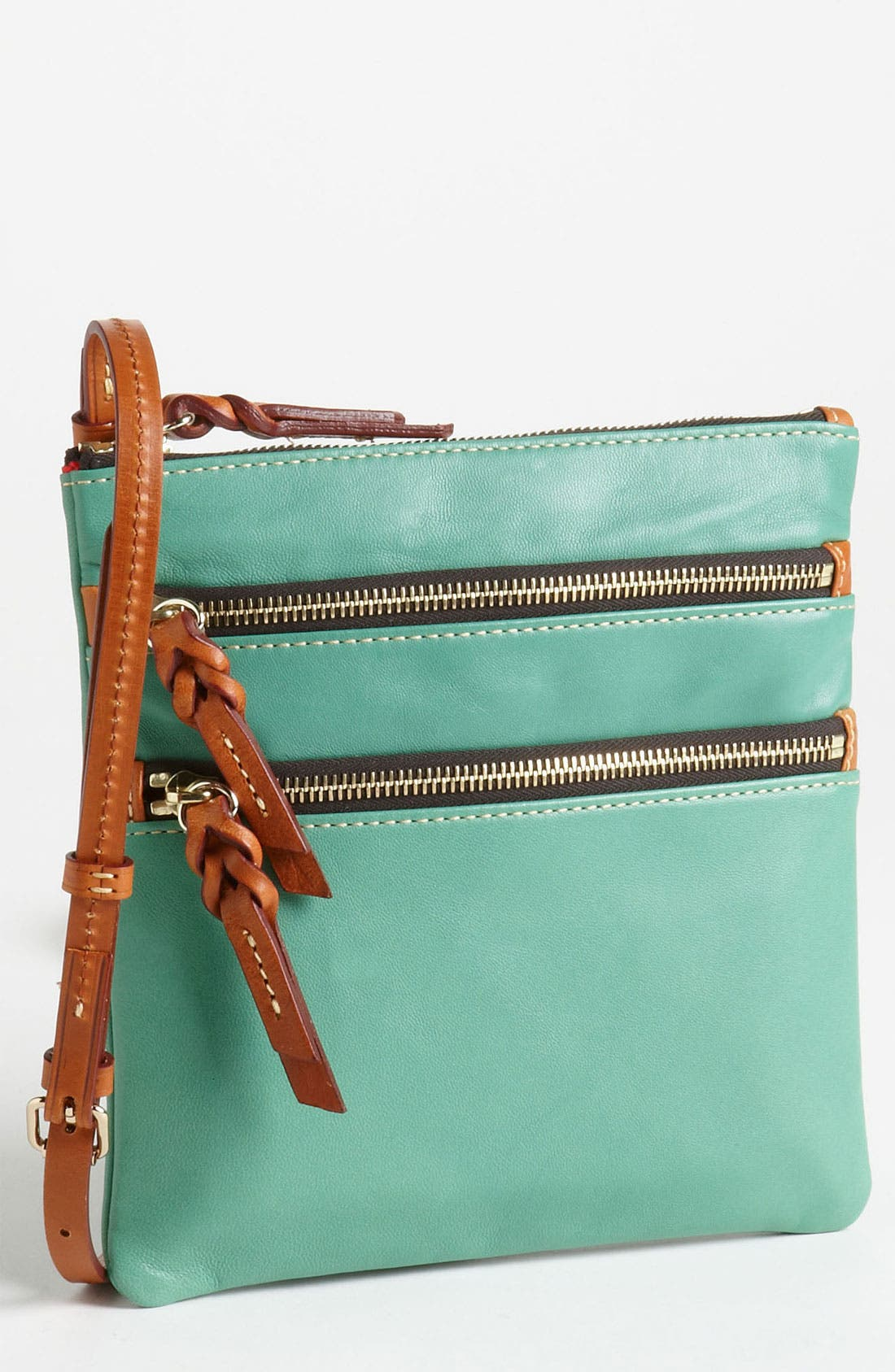 Alternate Image 1 Selected - Dooney & Bourke Triple Zip Leather Crossbody Bag