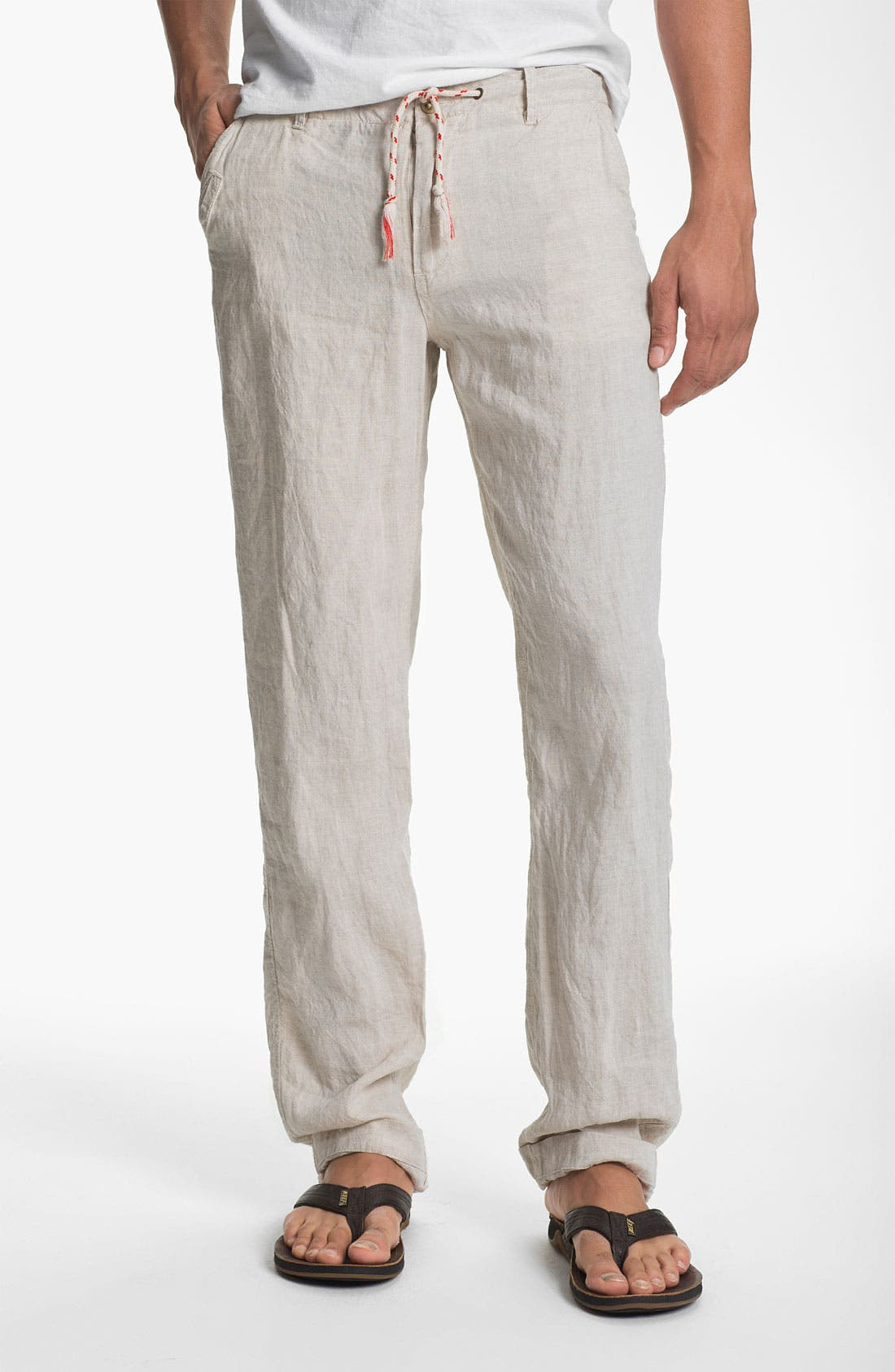Main Image - Just A Cheap Shirt 'Miami' Straight Leg Linen Pants