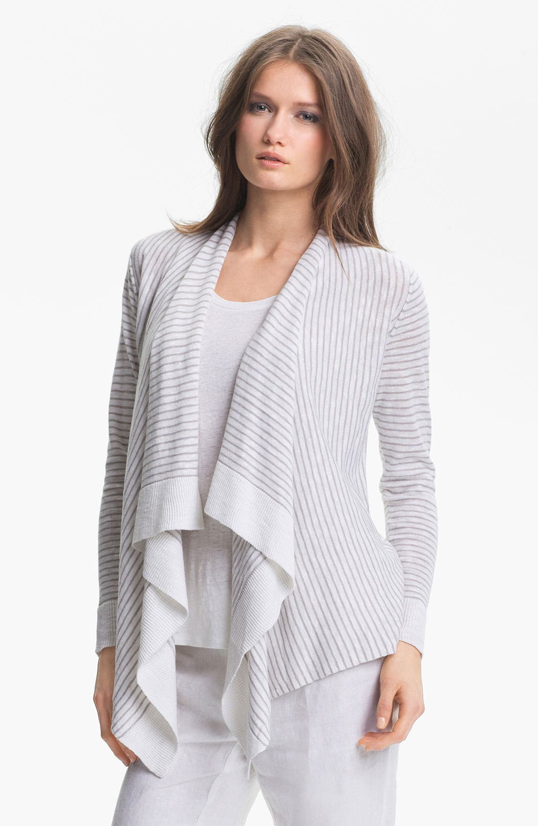 Alternate Image 1 Selected - Eileen Fisher Linen & Cotton Cascade Cardigan