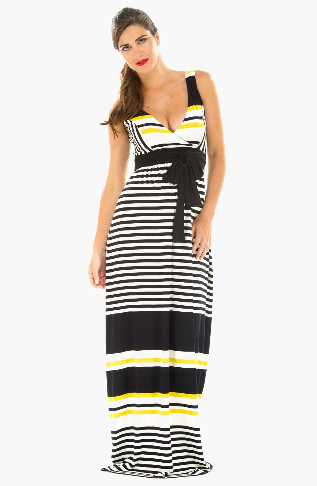 Main Image - Olian Kimono Stripe Maternity Dress