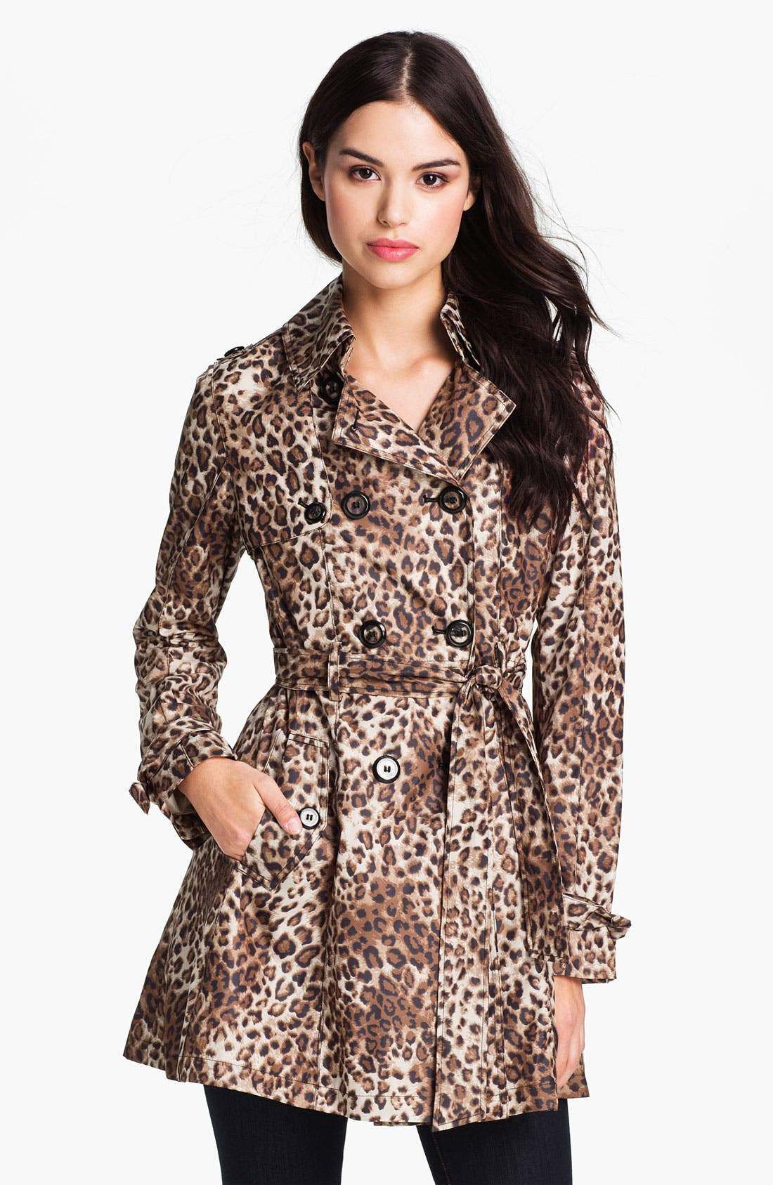 Main Image - Betsey Johnson Lace-Up Back Print Trench Coat