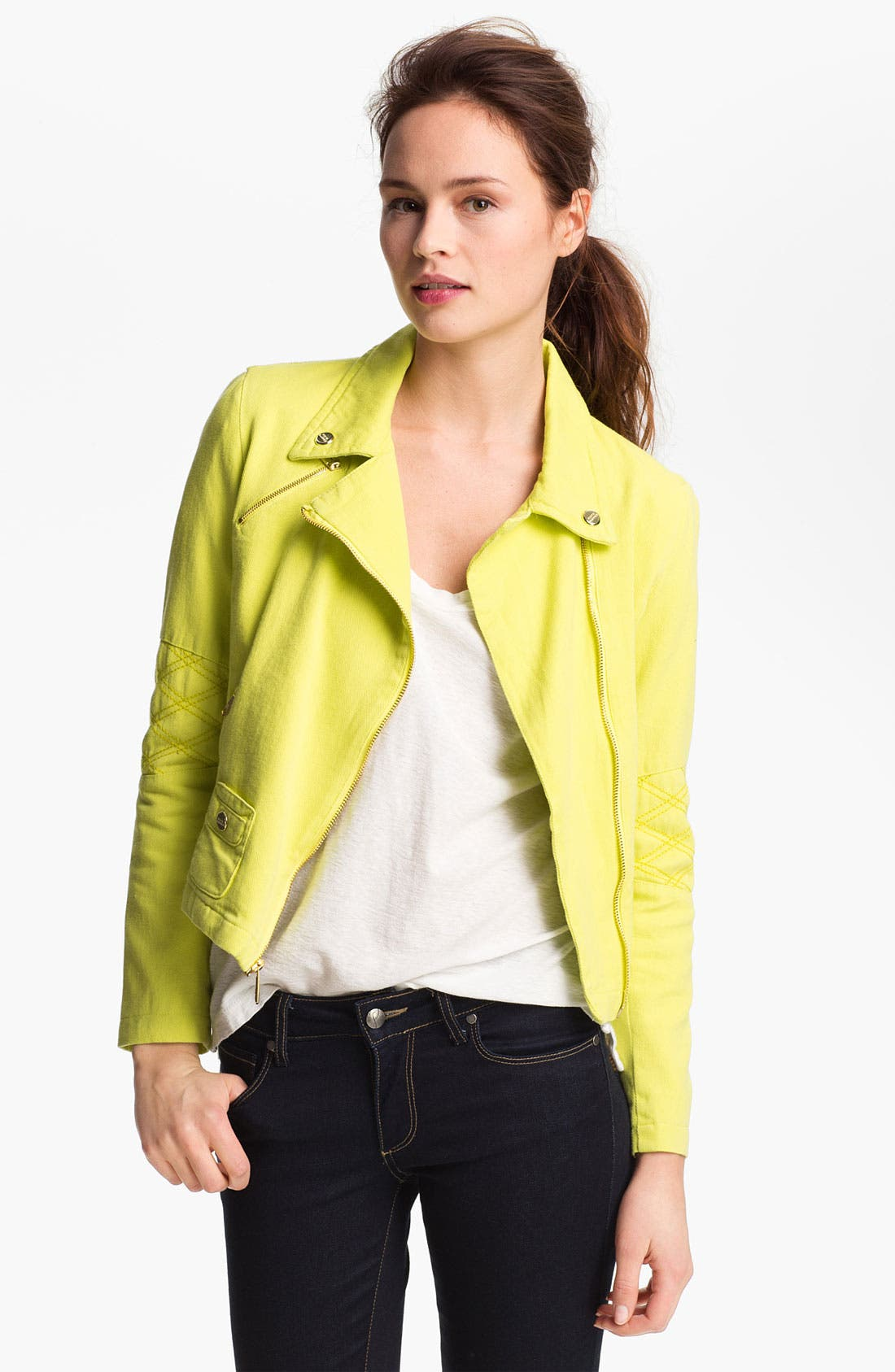 Alternate Image 1 Selected - Steve Madden Colored Denim Moto Jacket