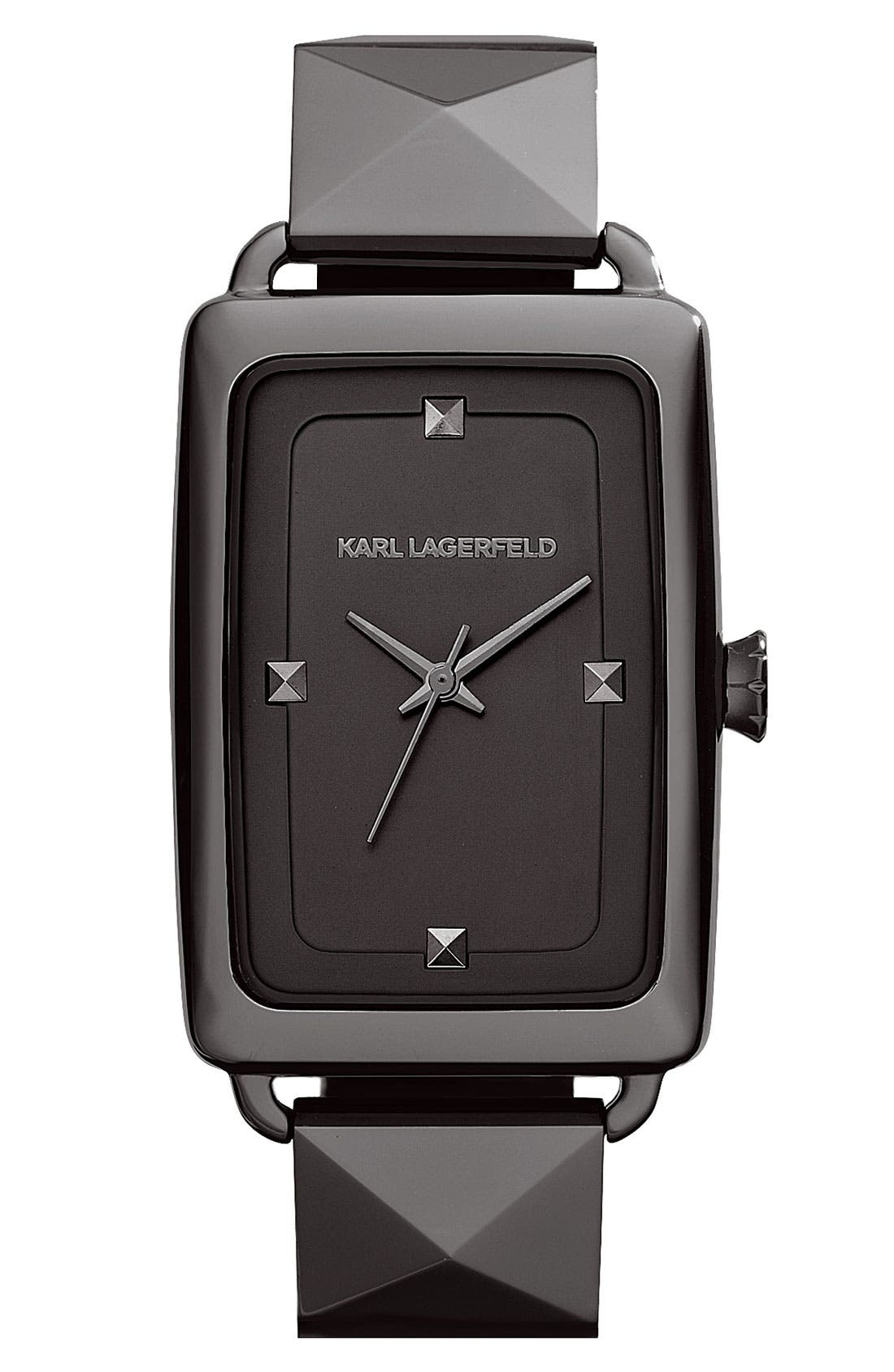 'Kourbe' Rectangular Bracelet Watch, 28mm x 41mm,                             Main thumbnail 1, color,                             Gunmetal
