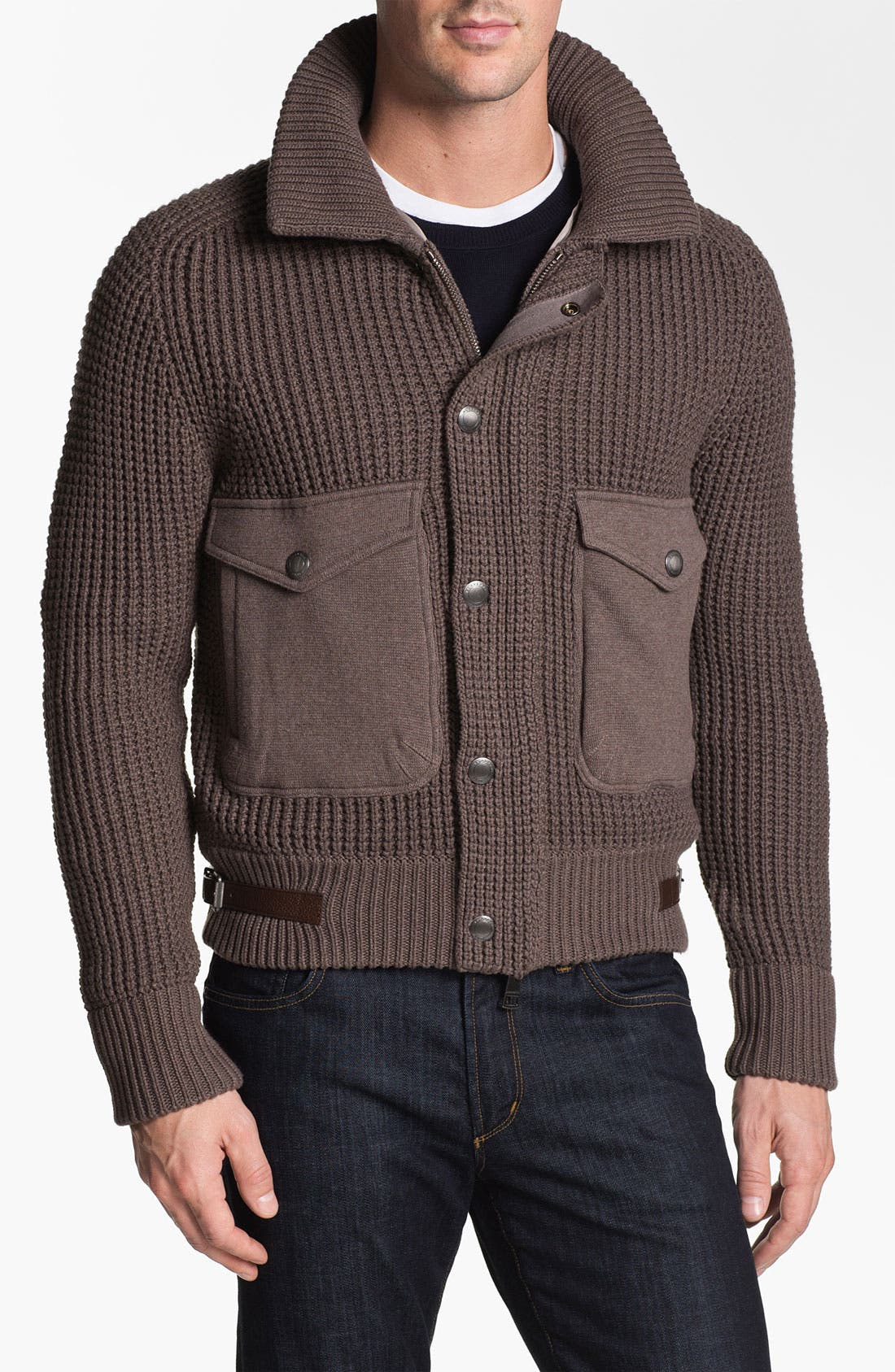 Main Image - Burberry Brit 'Acton' Knit Bomber Jacket