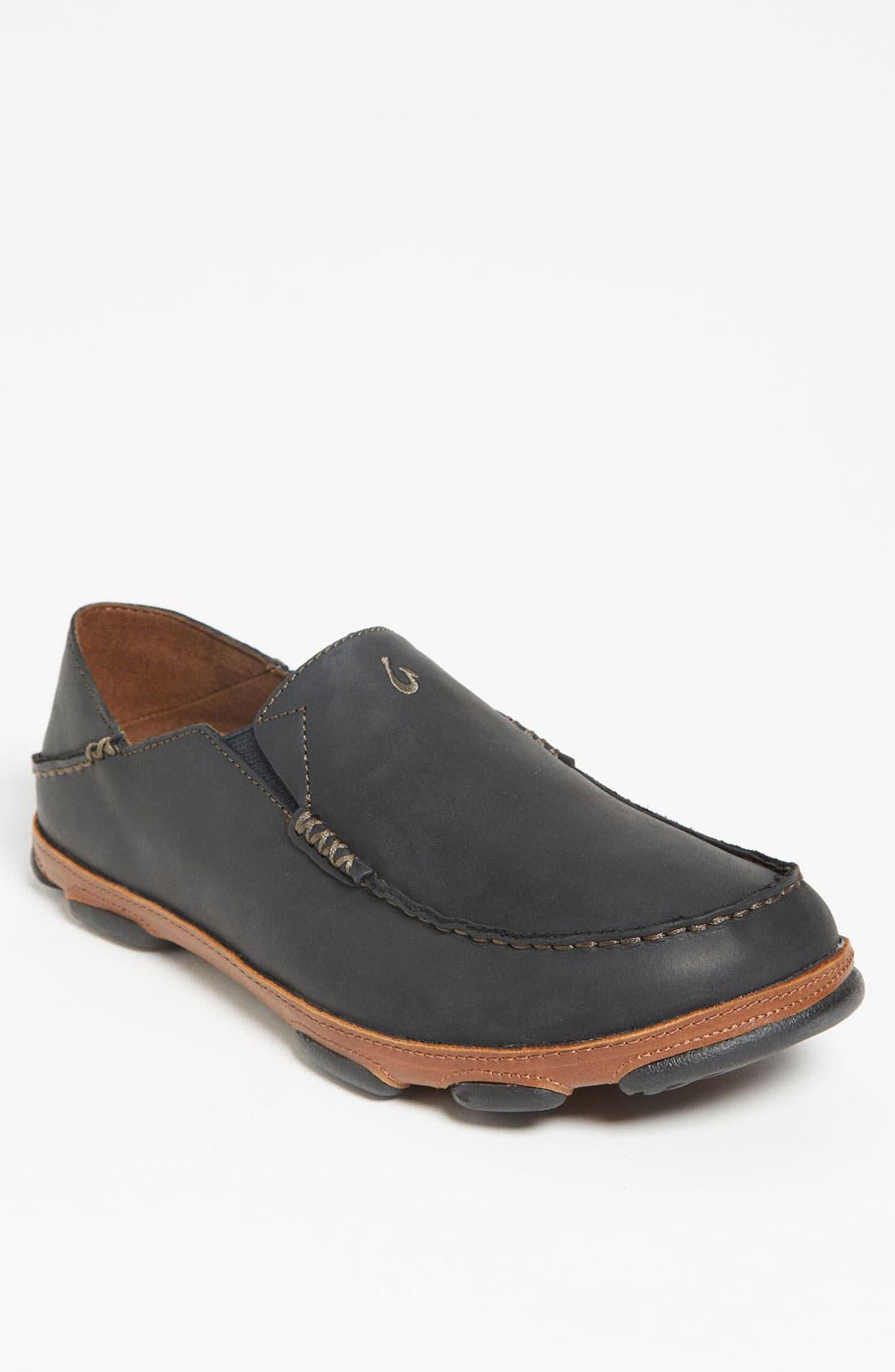 'Moloa' Slip-On,                             Main thumbnail 1, color,                             Black/ Toffee Leather