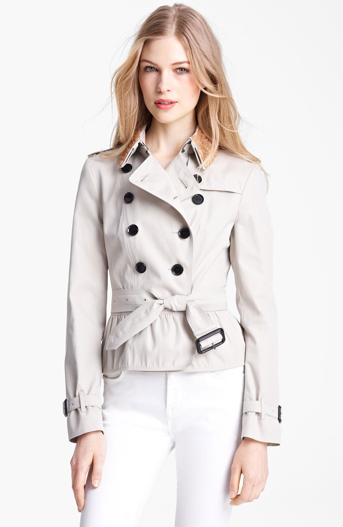 Alternate Image 1 Selected - Burberry London Double Breasted Jacket with Removable Jewel Collar