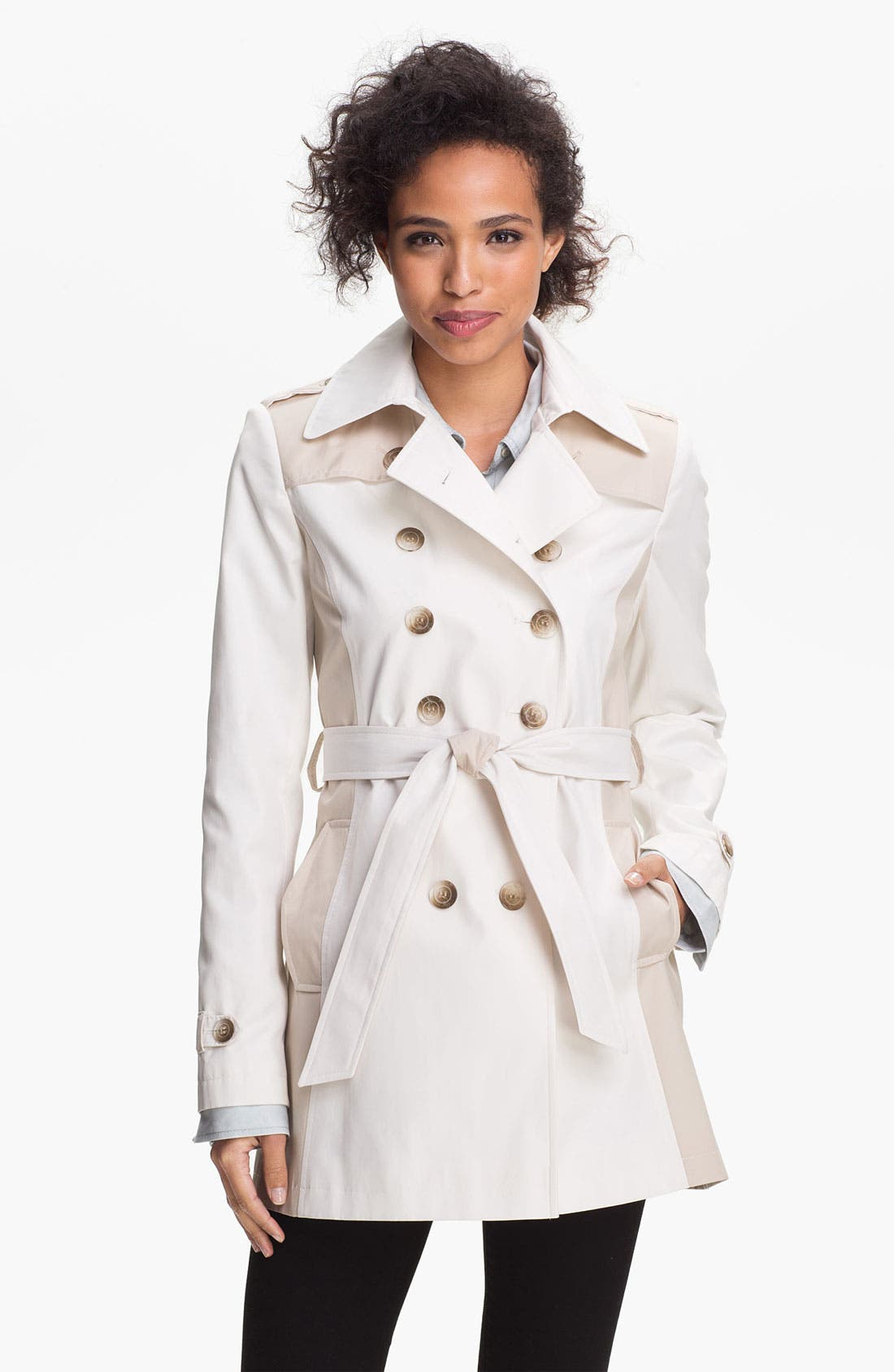 Alternate Image 1 Selected - DKNY Two Tone Trench Coat