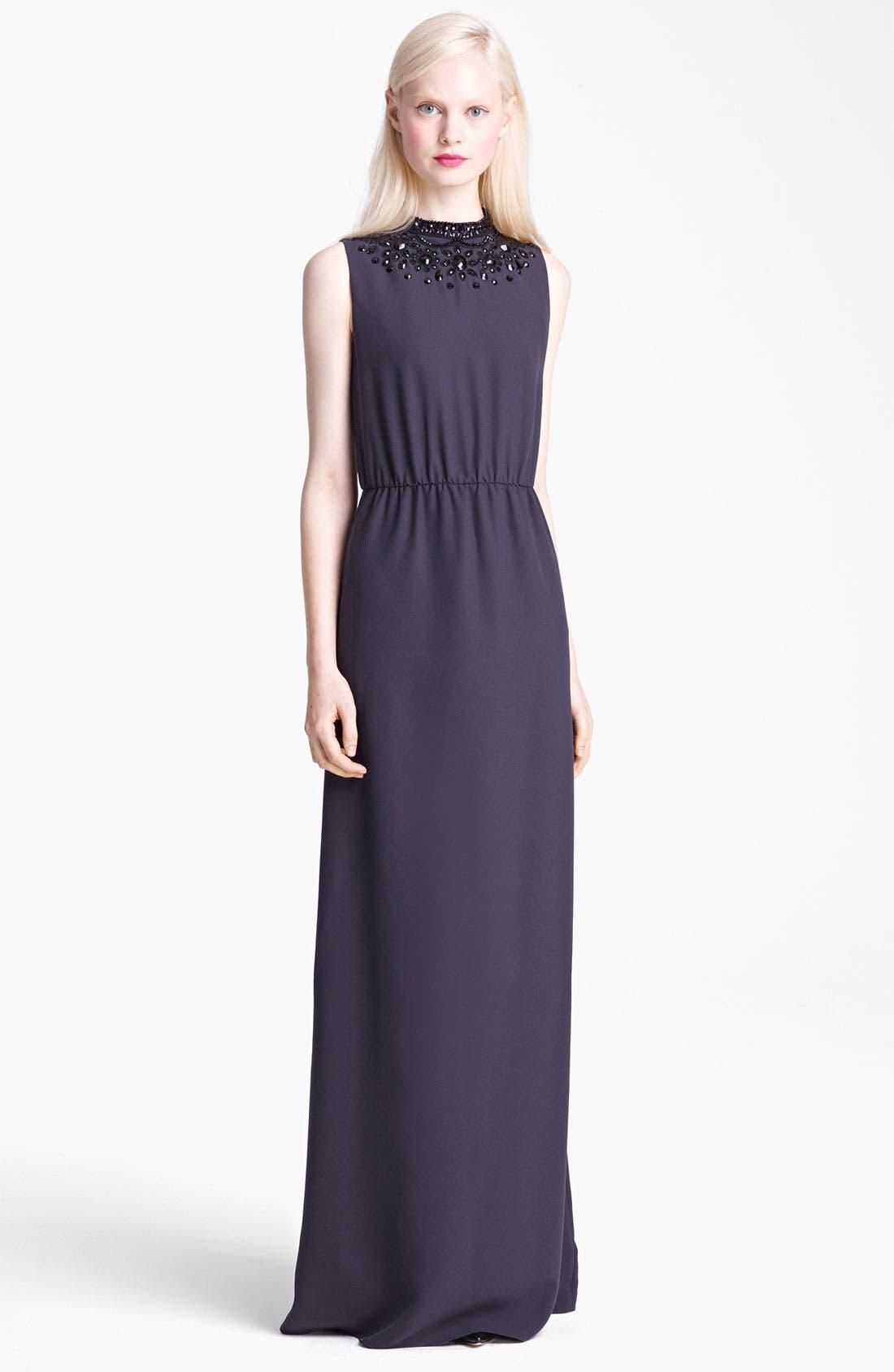 Main Image - Moschino Cheap & Chic Beaded Neckline Maxi Dress