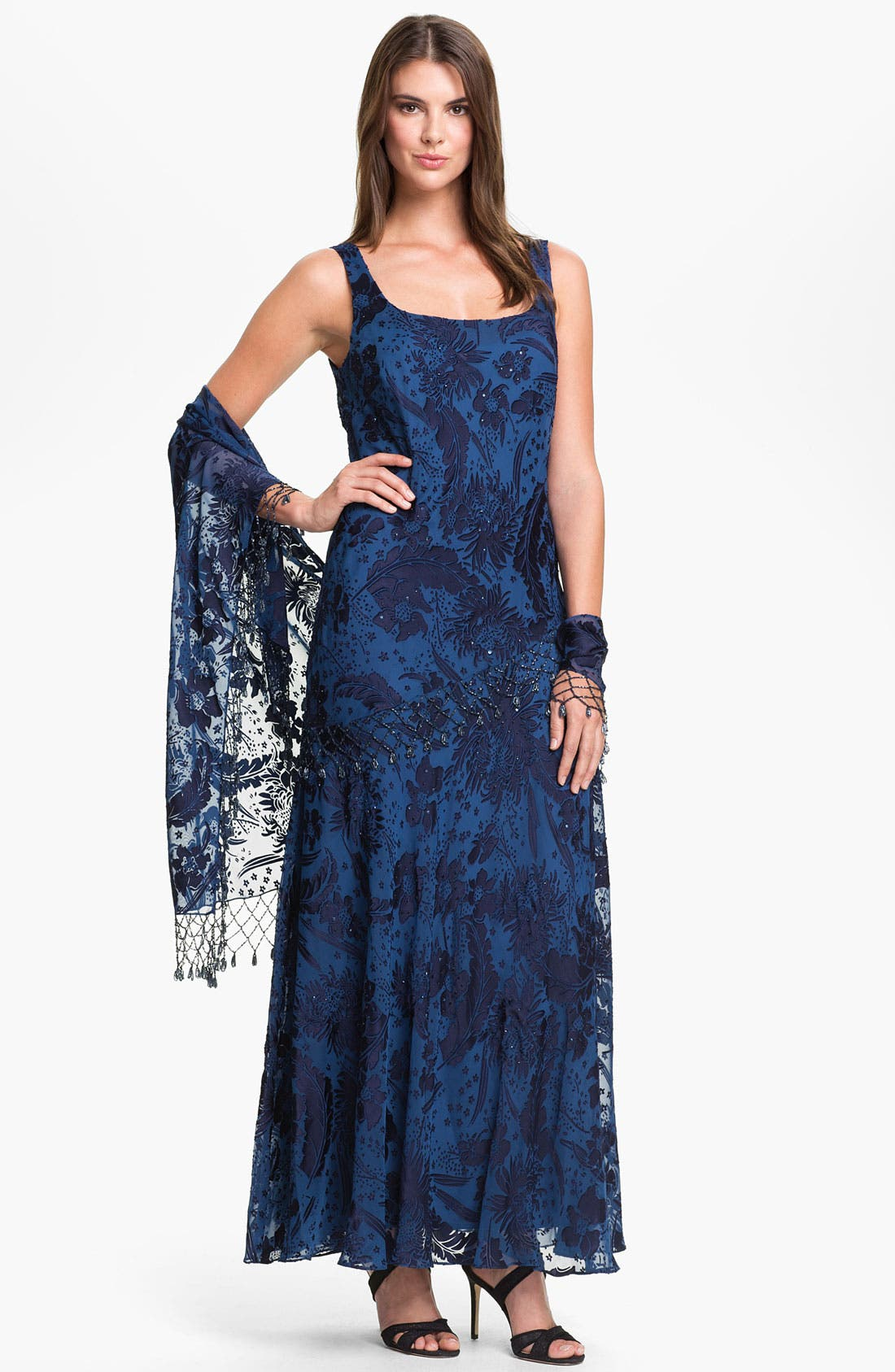 Main Image - Alex Evenings Sequin Burnout Overlay Dress with Shawl