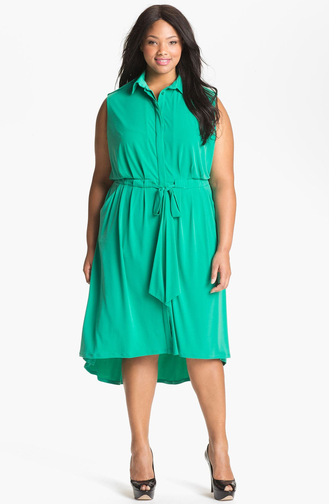 Main Image - Vince Camuto Sleeveless Shirtdress (Plus Size) (Online Only)
