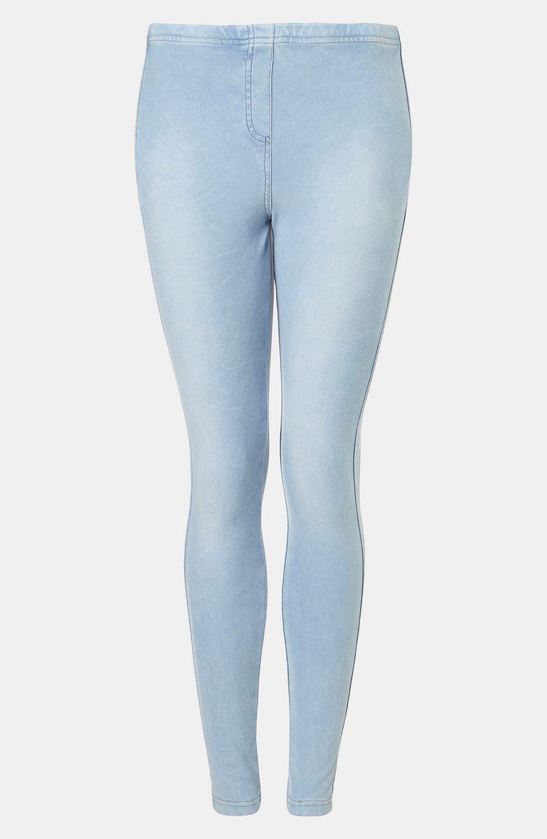 Alternate Image 1 Selected - Topshop Bleach-Wash Denim Leggings