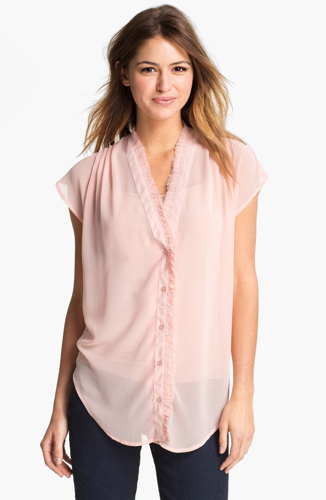 Main Image - Press Cap Sleeve Sheer Chiffon Shirt (Online Only)