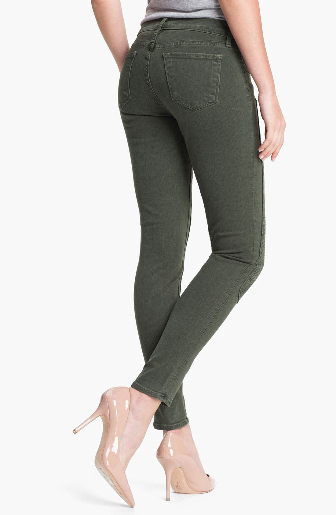 Alternate Image 2  - J Brand Quilted Panel Skinny Moto Jeans (Vin Mantis)