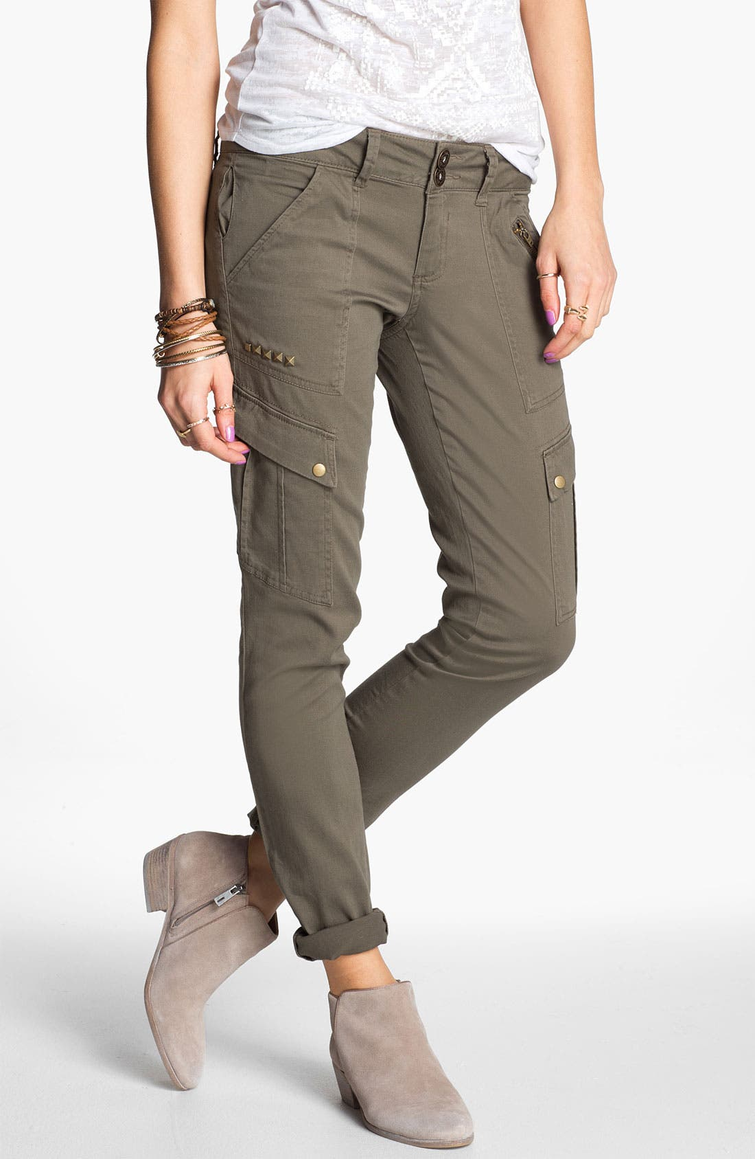 Alternate Image 1 Selected - Jolt Studded Skinny Cargo Pants (Juniors) (Online Only)