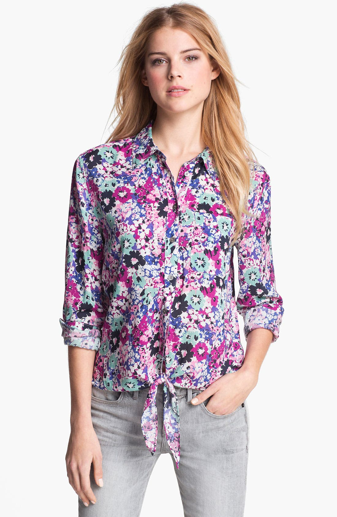 Main Image - Two by Vince Camuto Tie Front Boyfriend Shirt