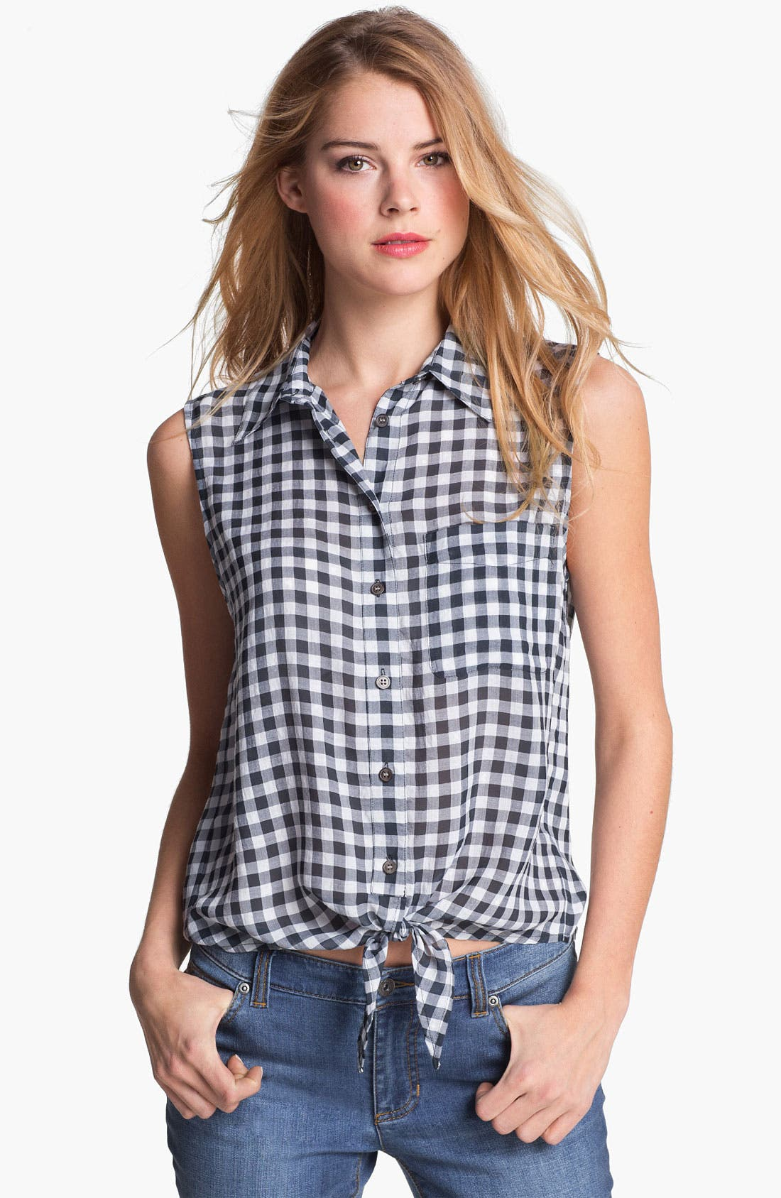 Main Image - Two by Vince Camuto Sleeveless Plaid Blouse