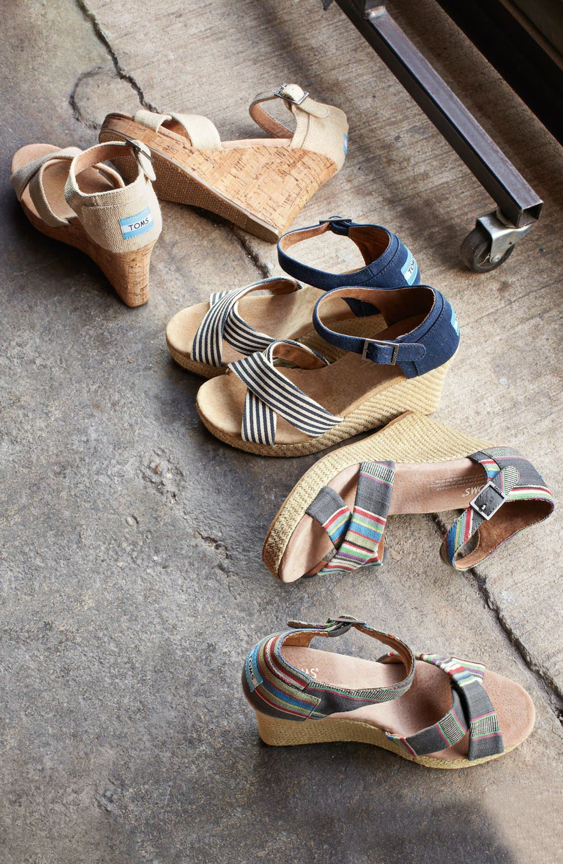 Alternate Image 5  - TOMS Denim Stripe Wedge Sandal