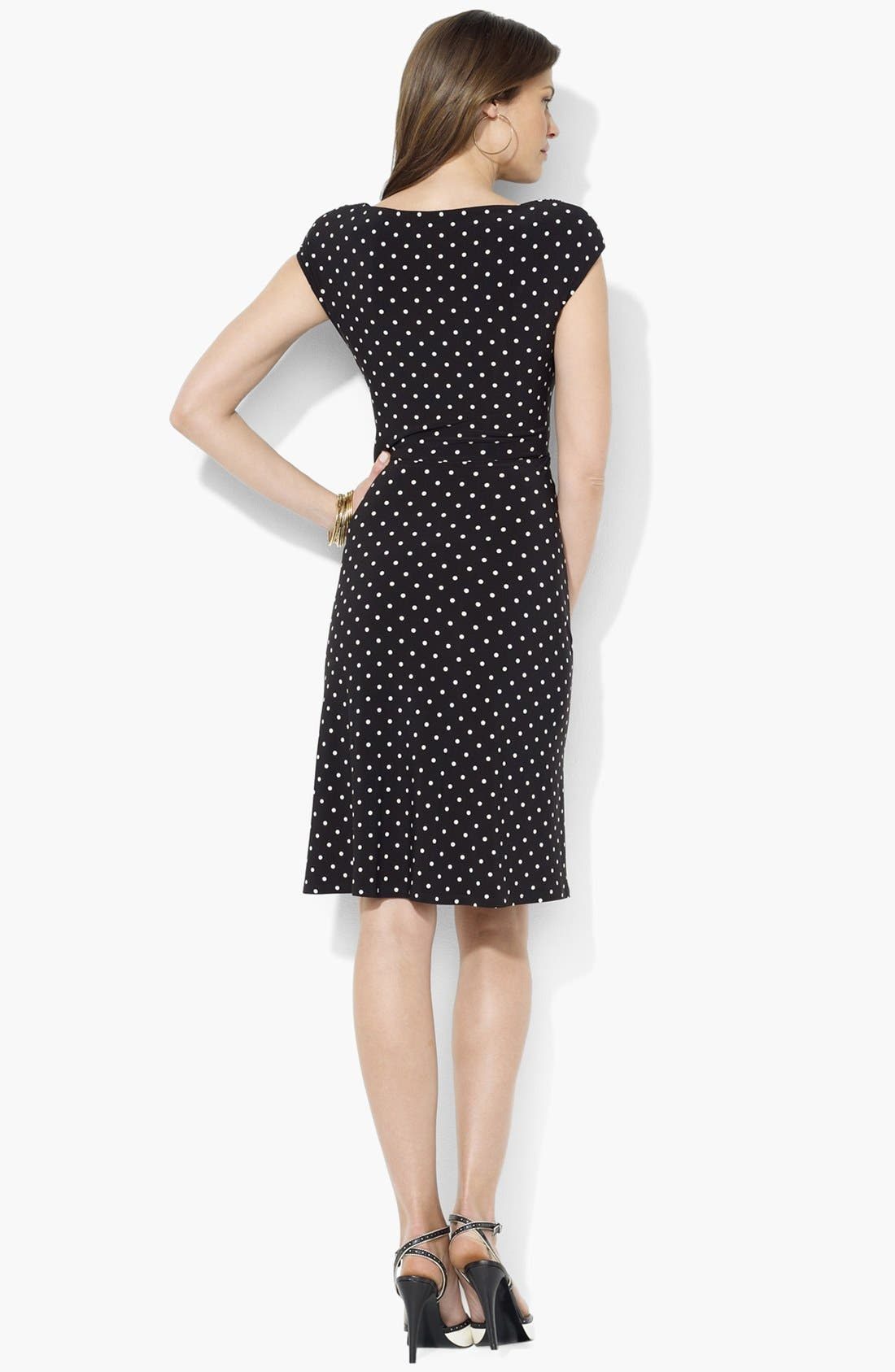 Alternate Image 2  - Lauren Ralph Lauren Draped Polka Dot Jersey Dress