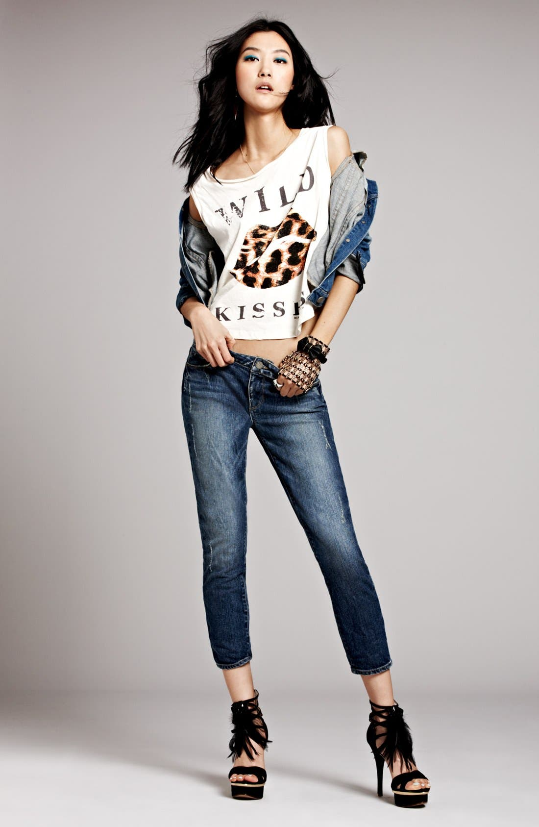 Alternate Image 1 Selected - Maison Scotch Tank, Paige Jeans & Jacket