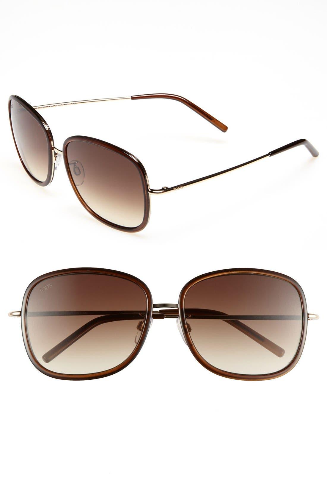 Main Image - Tod's 'Sung' 58mm Metal Aviator Sunglasses
