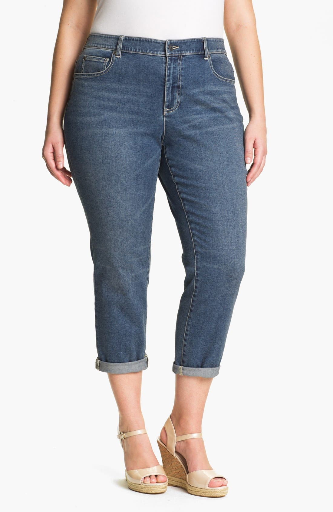 Main Image - Two by Vince Camuto Cuffed Boyfriend Jeans (Plus Size)