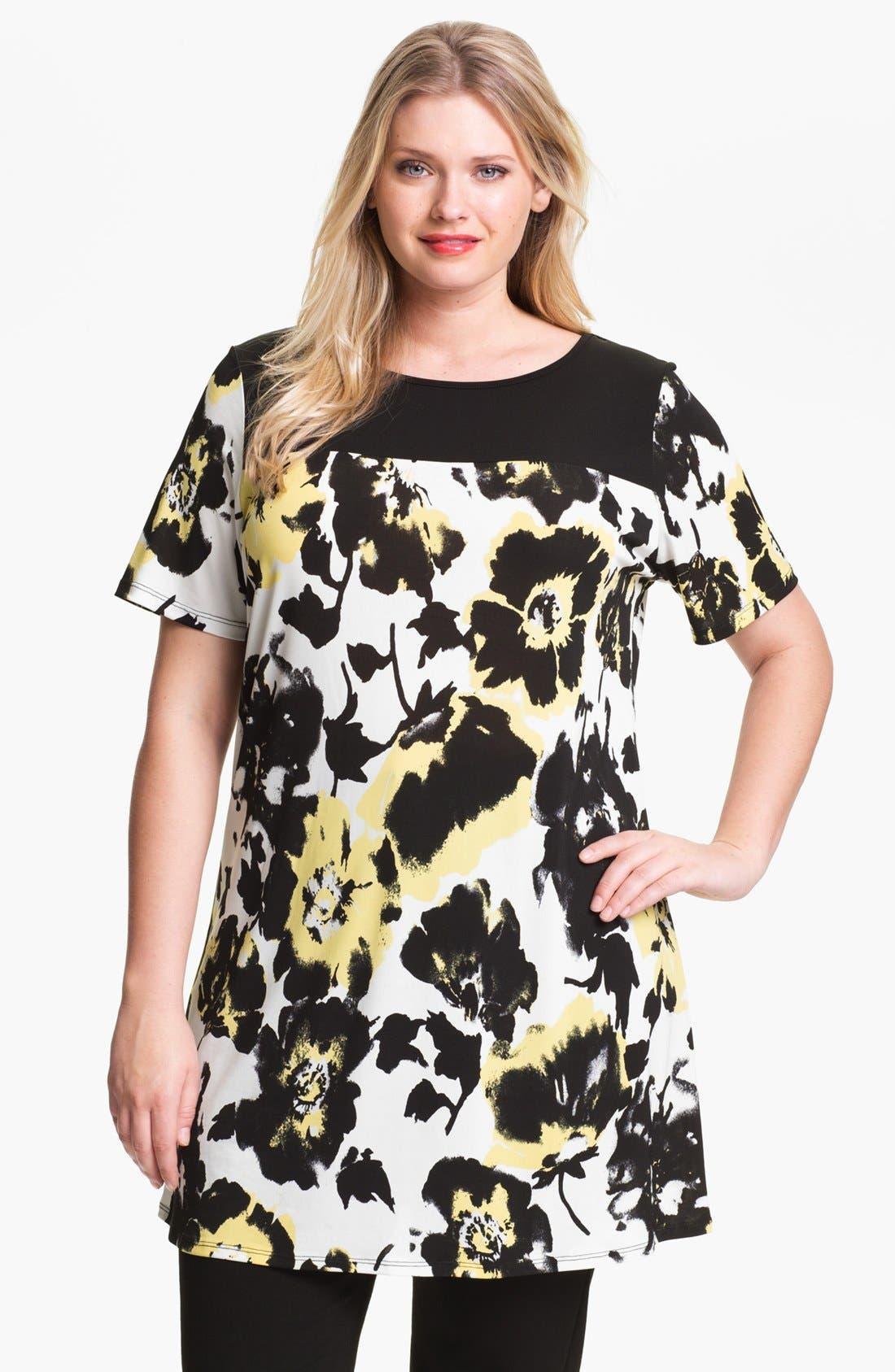 Main Image - Evans Floral Print Tunic (Plus Size)