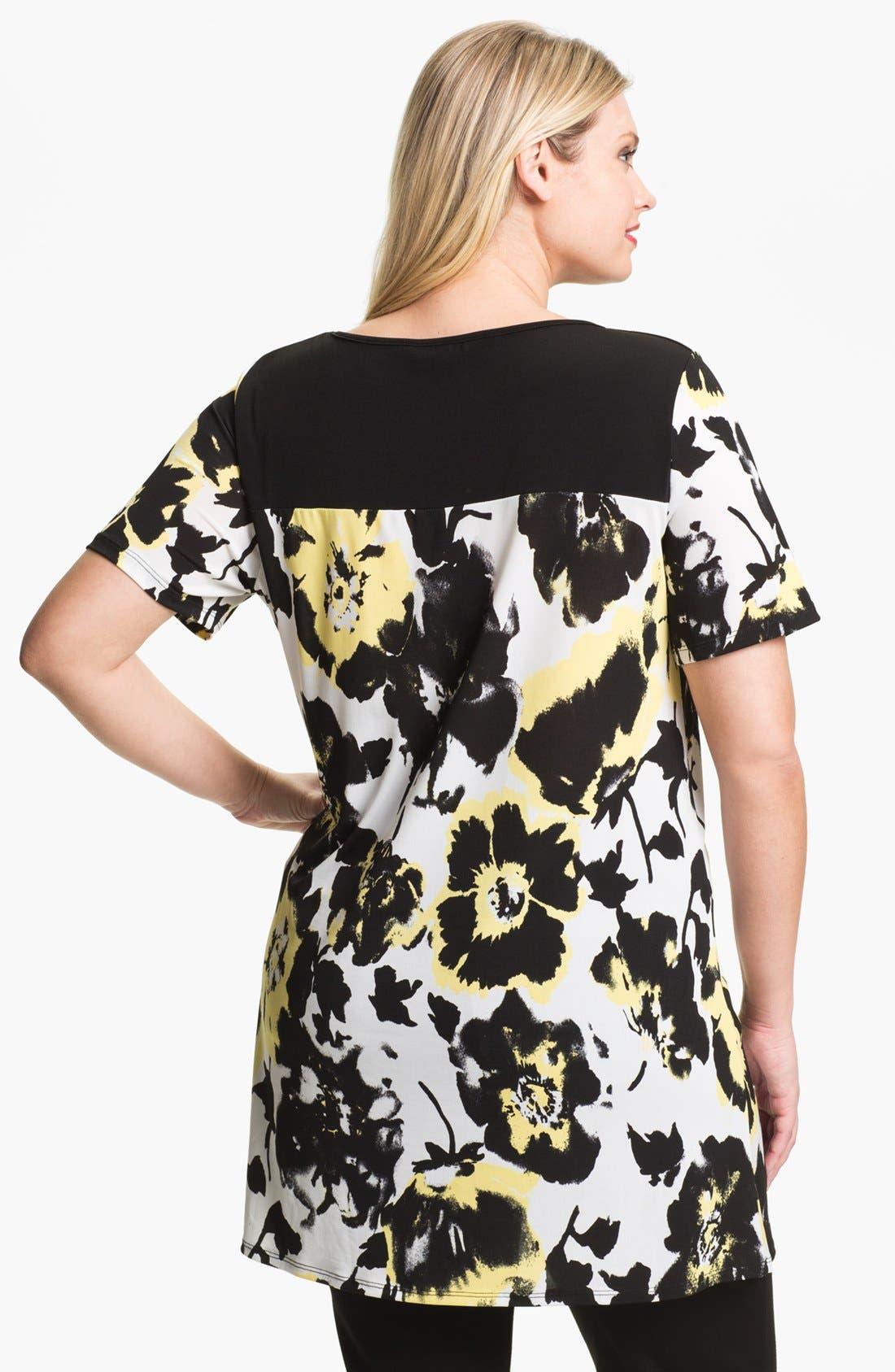 Alternate Image 2  - Evans Floral Print Tunic (Plus Size)