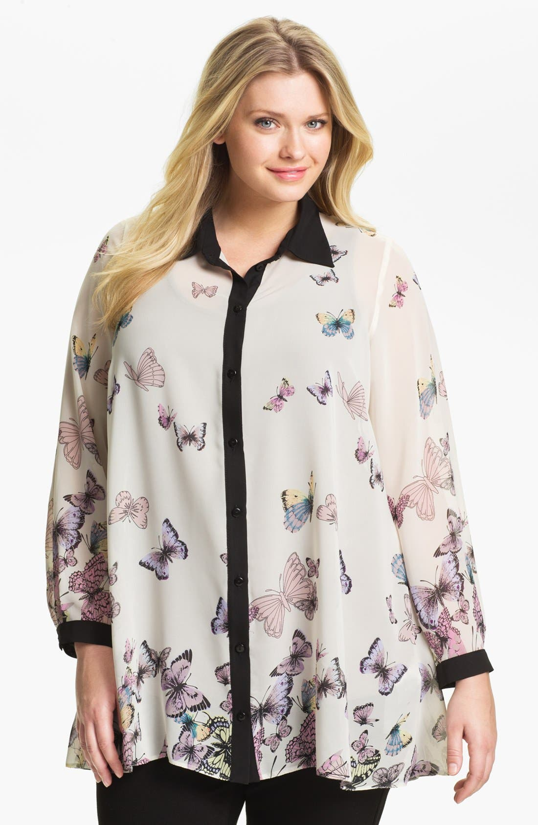 Alternate Image 1 Selected - Evans Butterfly Print Shirt (Plus Size)