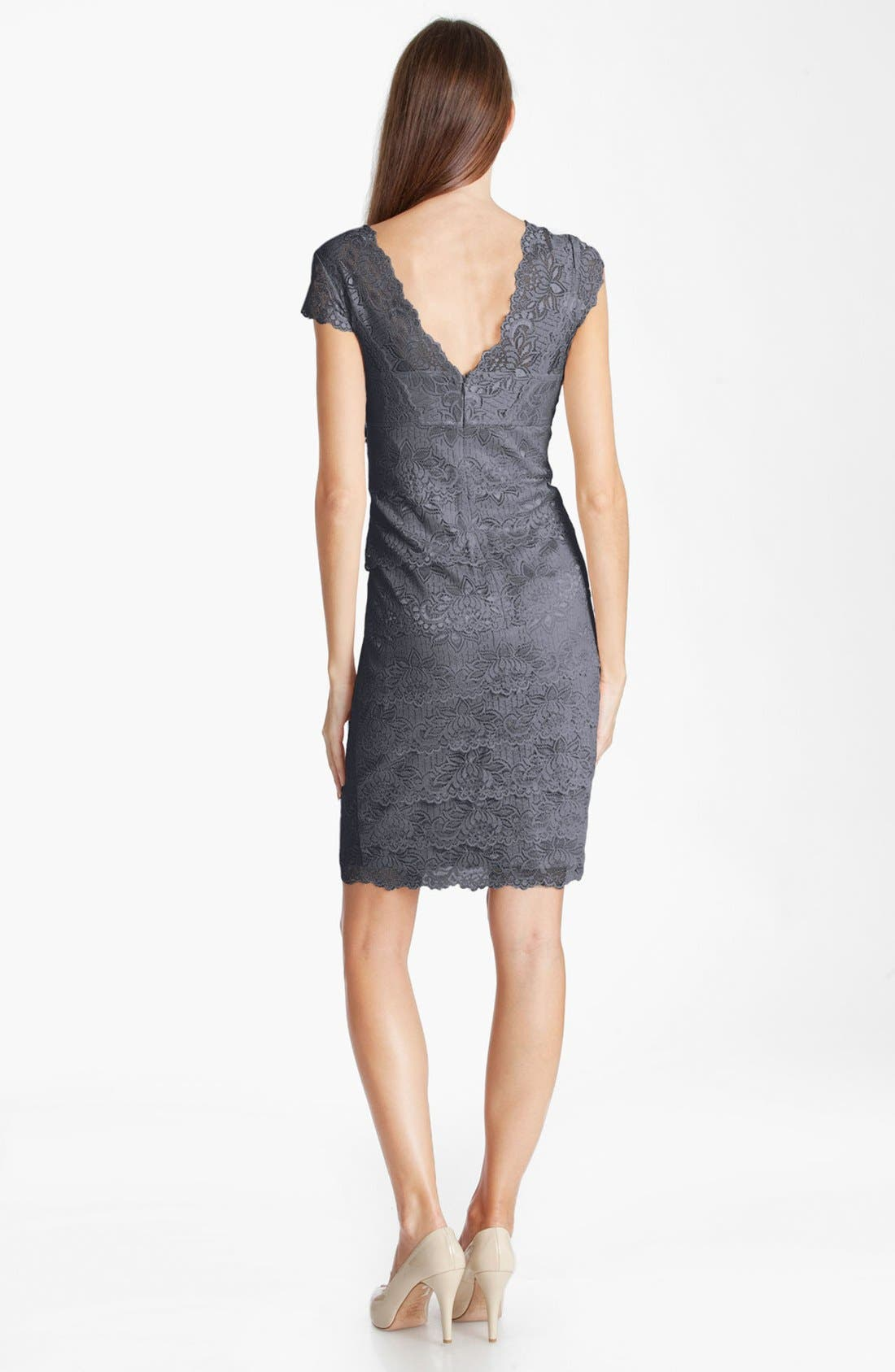 Alternate Image 2  - JS Collections Layered Lace Sheath Dress (Petite)
