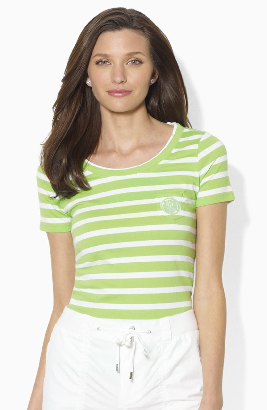 Main Image - Lauren Ralph Lauren Logo Pocket Stripe Tee (Petite) (Online Only)