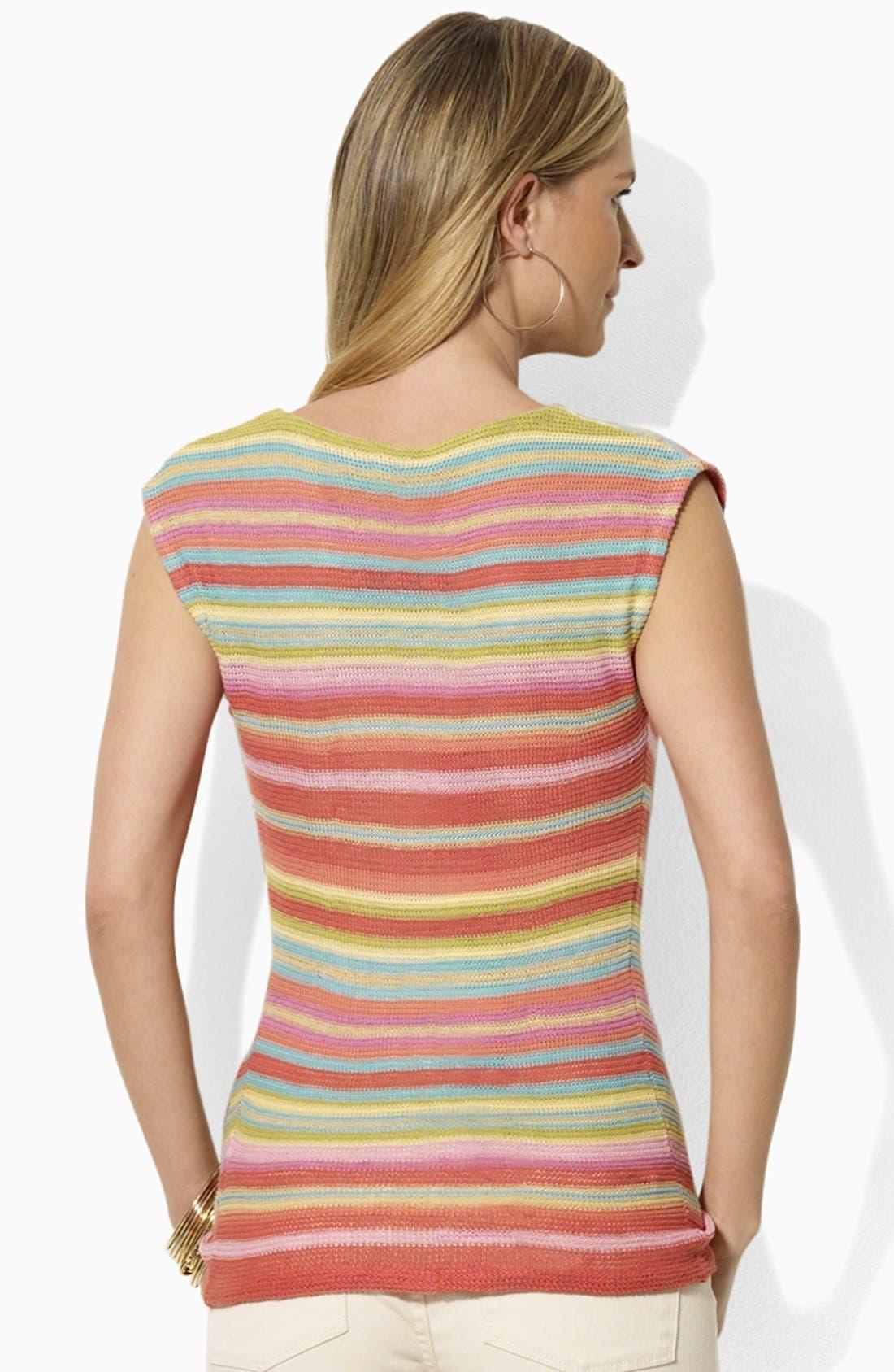 Alternate Image 2  - Lauren Ralph Lauren Drop Shoulder Stripe Sweater (Petite) (Online Only)