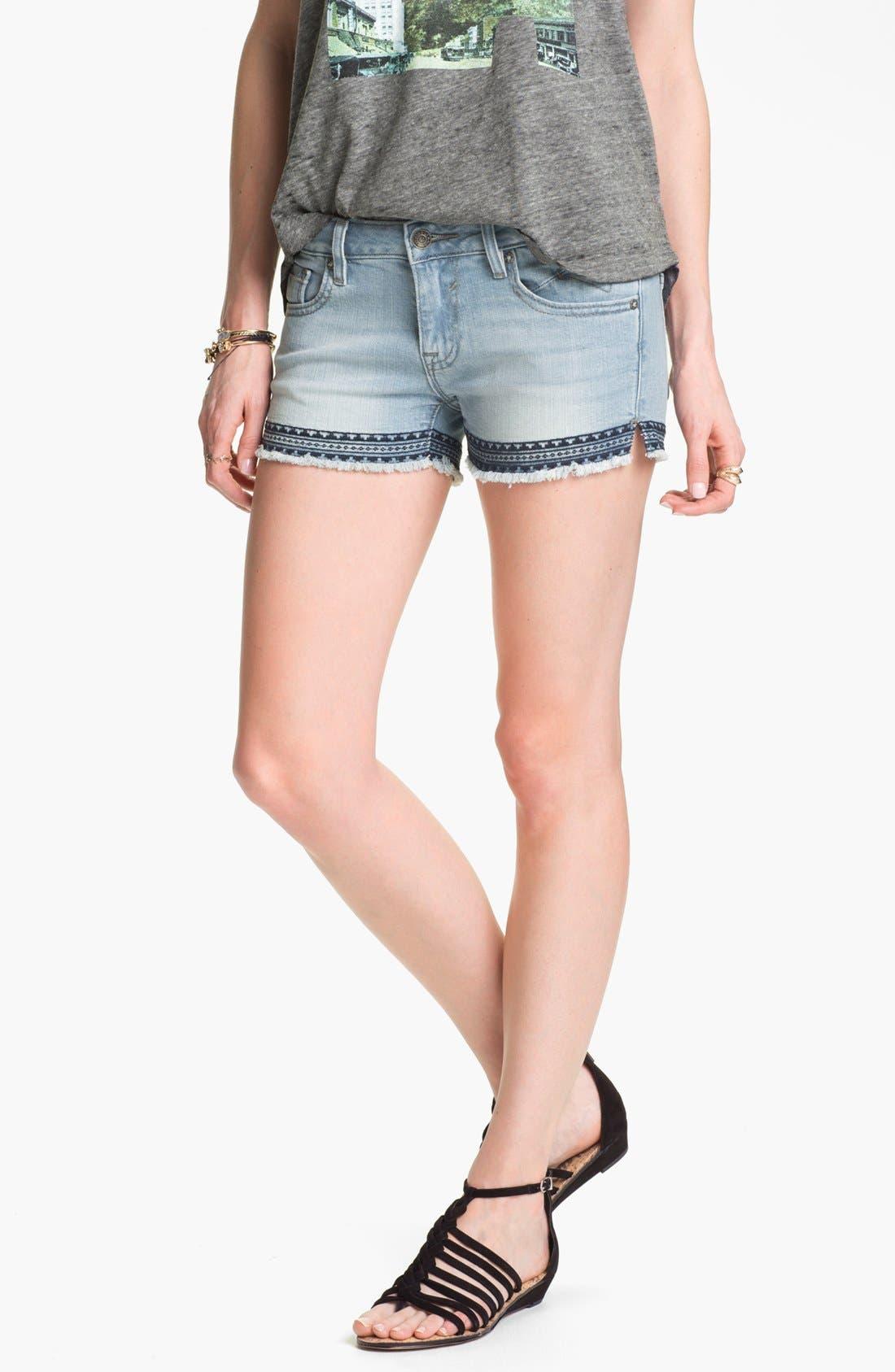 Main Image - Vigoss Aztec Embroidered Cutoff Shorts (Juniors)