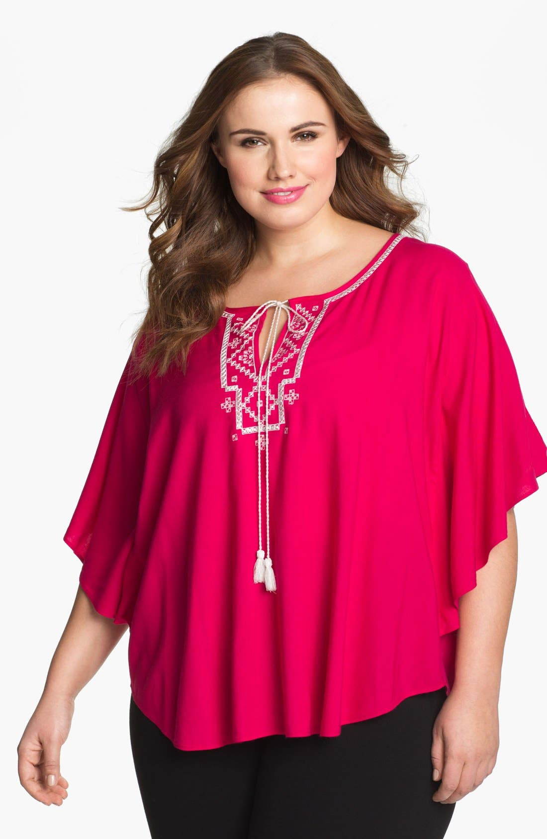 Alternate Image 1 Selected - Karen Kane Embroidered Angel Sleeve Top (Plus Size) (Online Only)