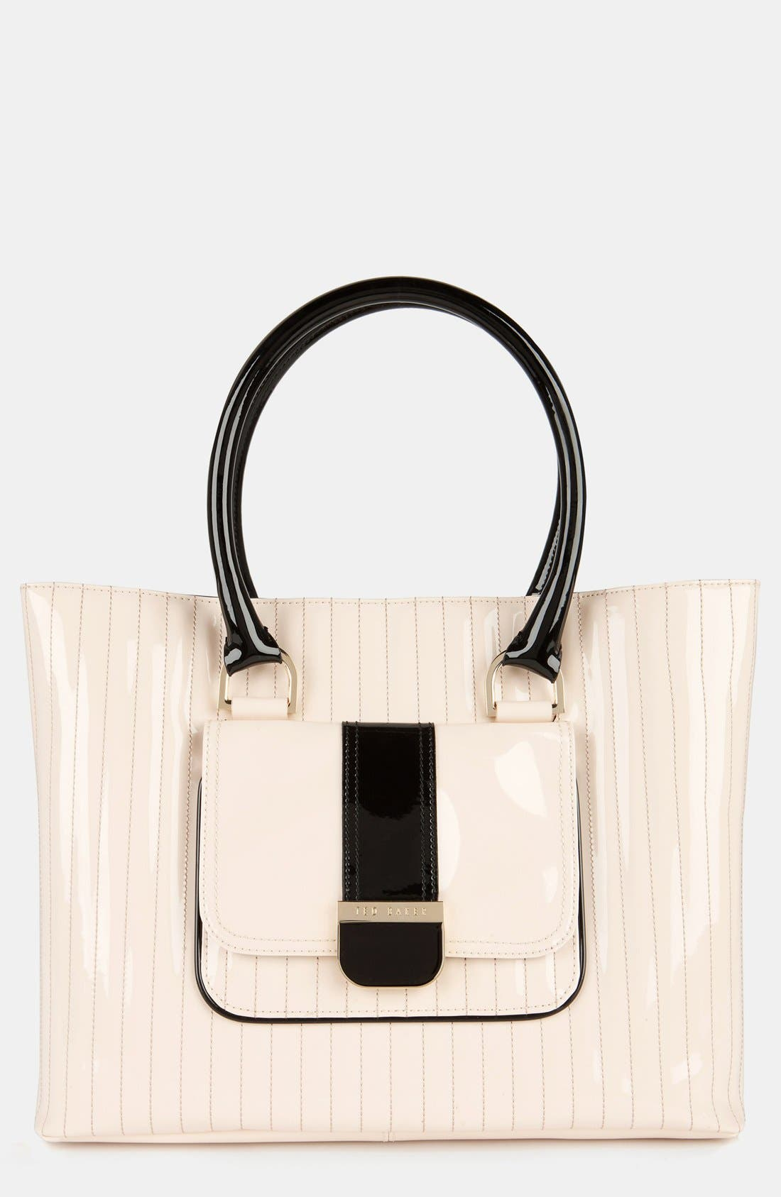 Main Image - Ted Baker London 'Enamel - Colorblock' Quilted Faux Leather Shopper