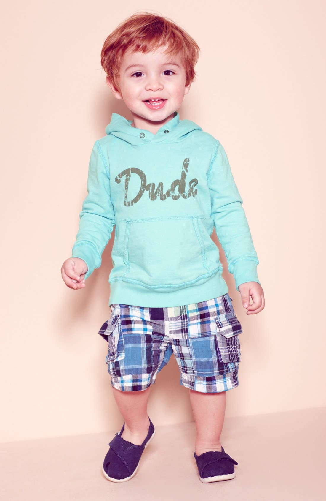 Main Image - Peek Hoodie & Plaid Shorts, Babiators Sunglasses & TOMS Slip-On (Infant)