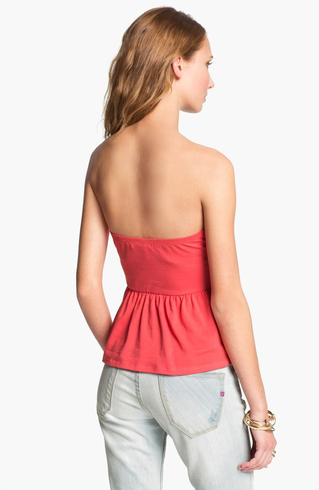 Alternate Image 2  - Painted Threads Strapless Peplum Top (Juniors) (Online Only)