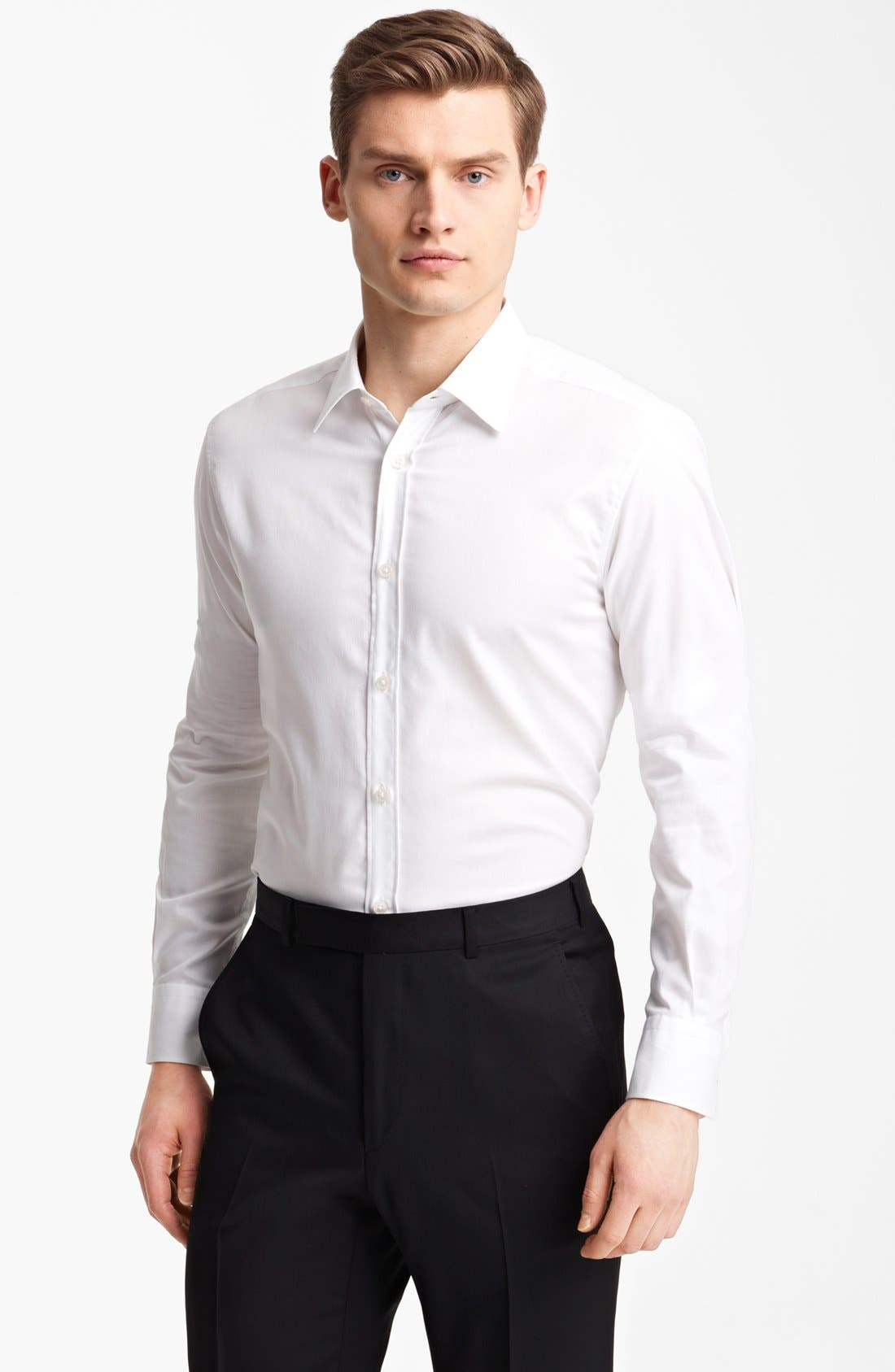 Alternate Image 1 Selected - Z Zegna Micro Pinpoint Cotton Dress Shirt