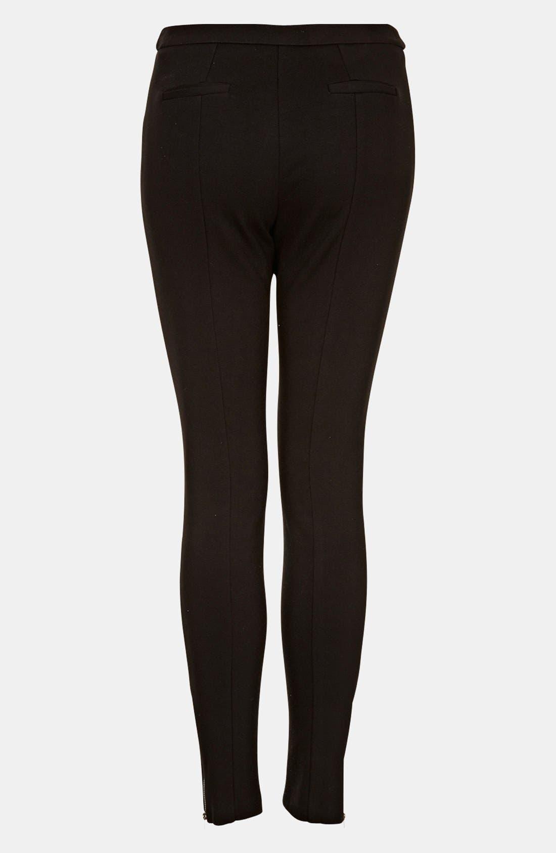 High Waist Ponte Skinny Pants,                             Alternate thumbnail 2, color,                             Black
