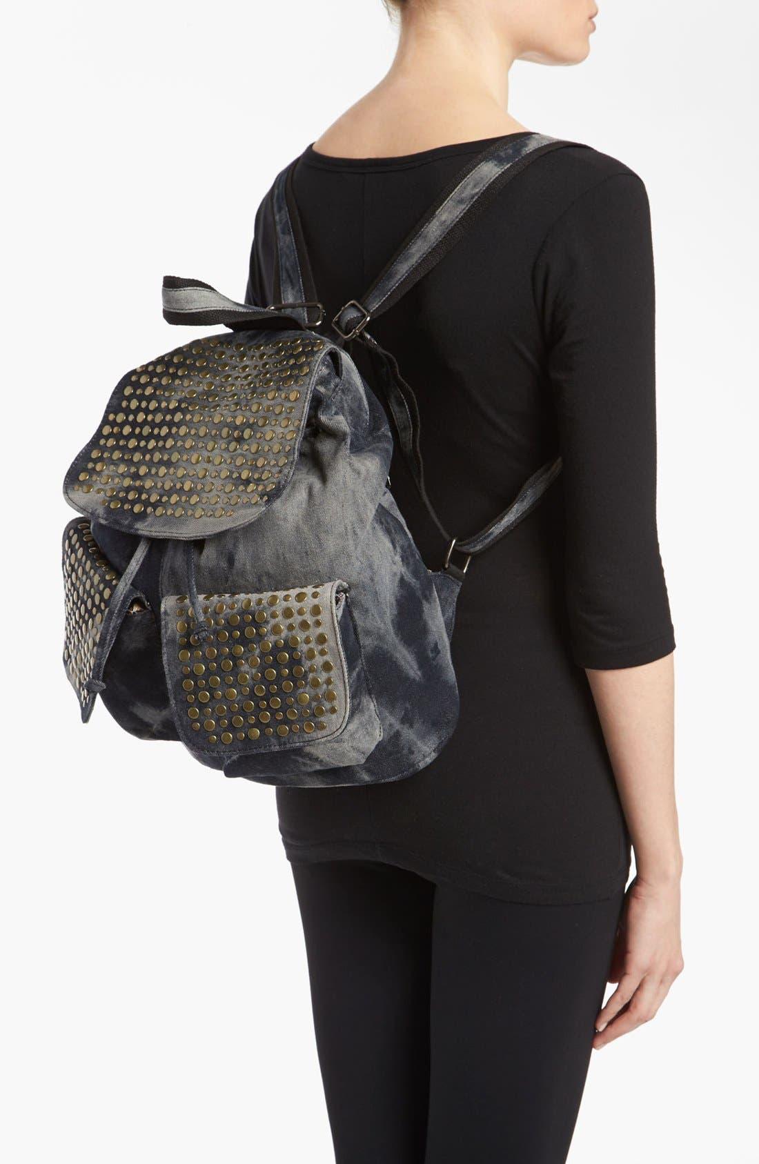 Alternate Image 2  - De L'avion Studded Acid Wash Backpack